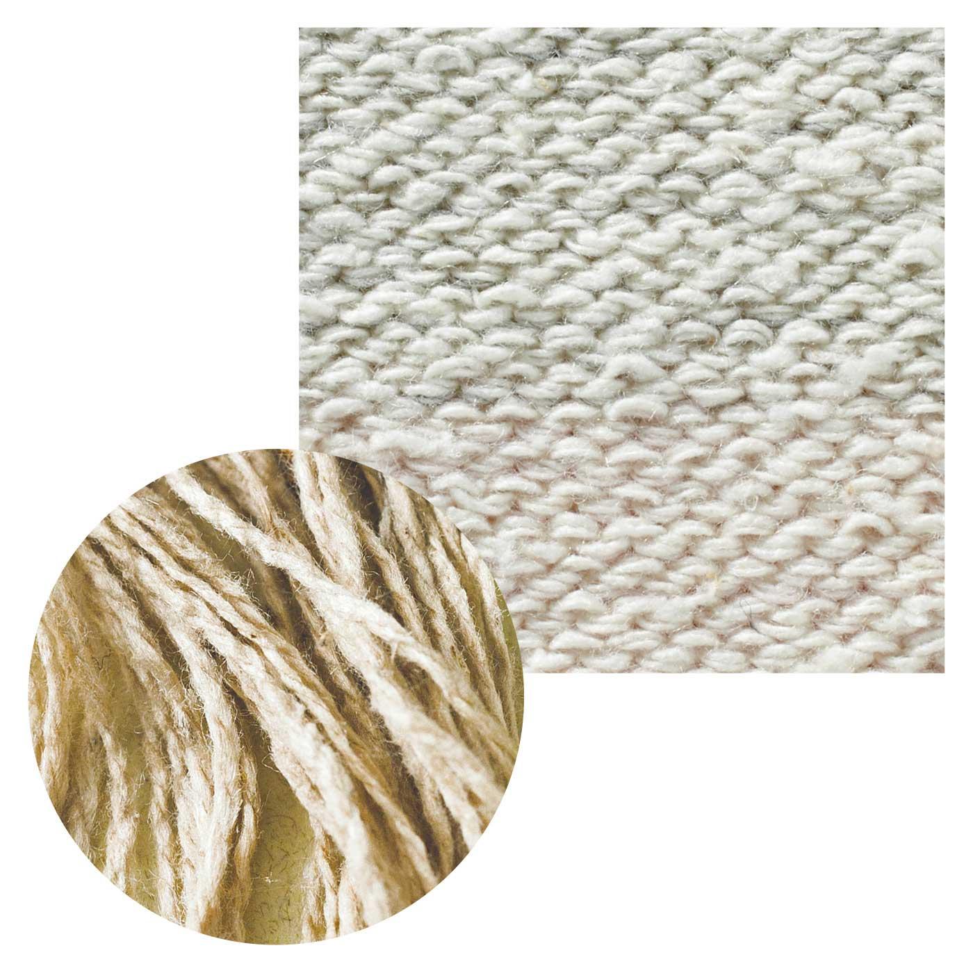 裏側にはふんわりとした太めのシルク糸を使用。ずれにくいのも特徴です。
