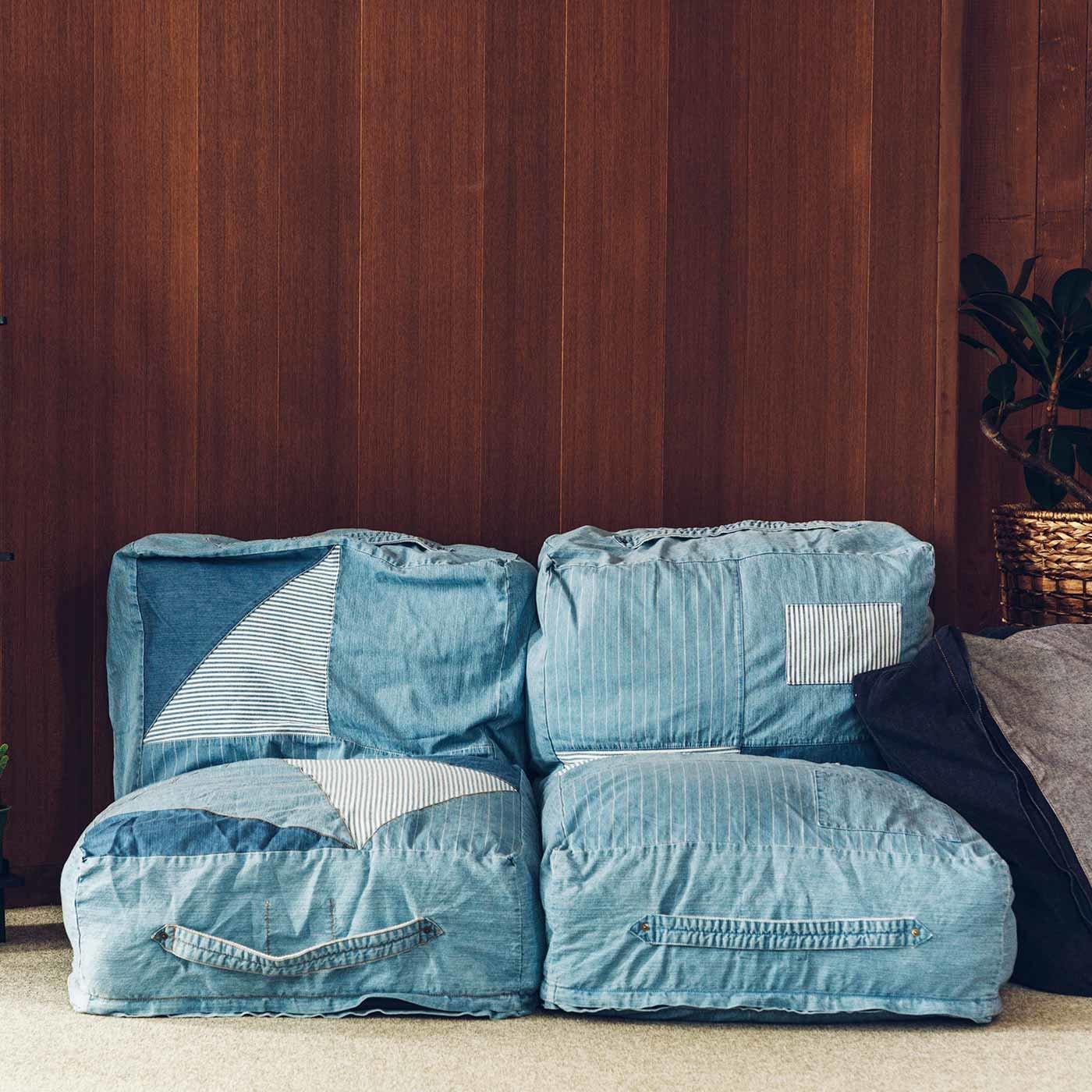 RoomClip商品情報 - 古着屋さんで見つけたような ユーズド加工のくたくた収納デニムザブトンの会 フェリシモ FELISSIMO【送料無料】