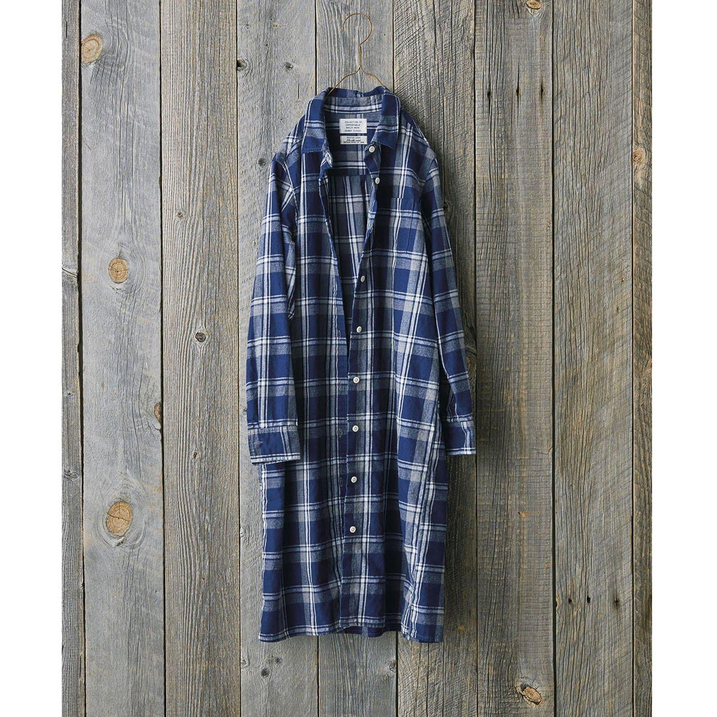 サニークラウズ 蚤ノ市で見つけたシャツコートワンピース〈レディース〉紺に白とグレー