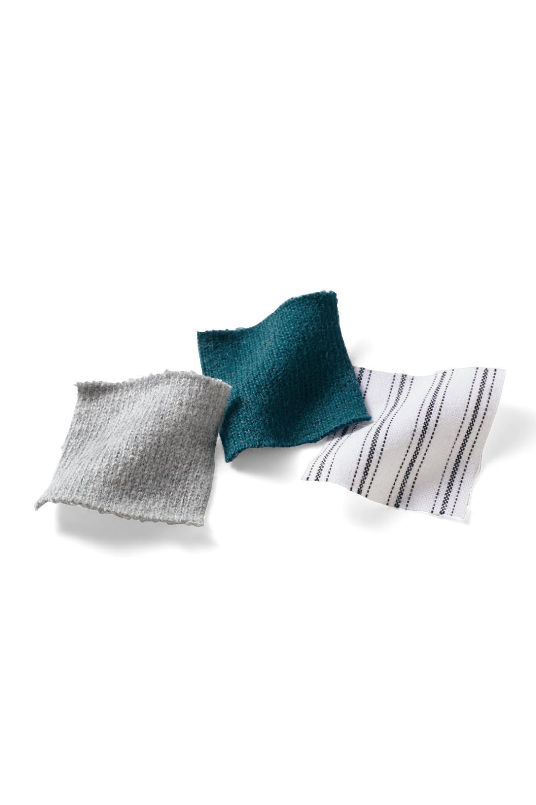 カットソーは度詰めして張り感を出したオーガニックコットン100%。肌心地がいいうえに長く使えます。ストライプの袖口は布はく素材できちんと感アップ。