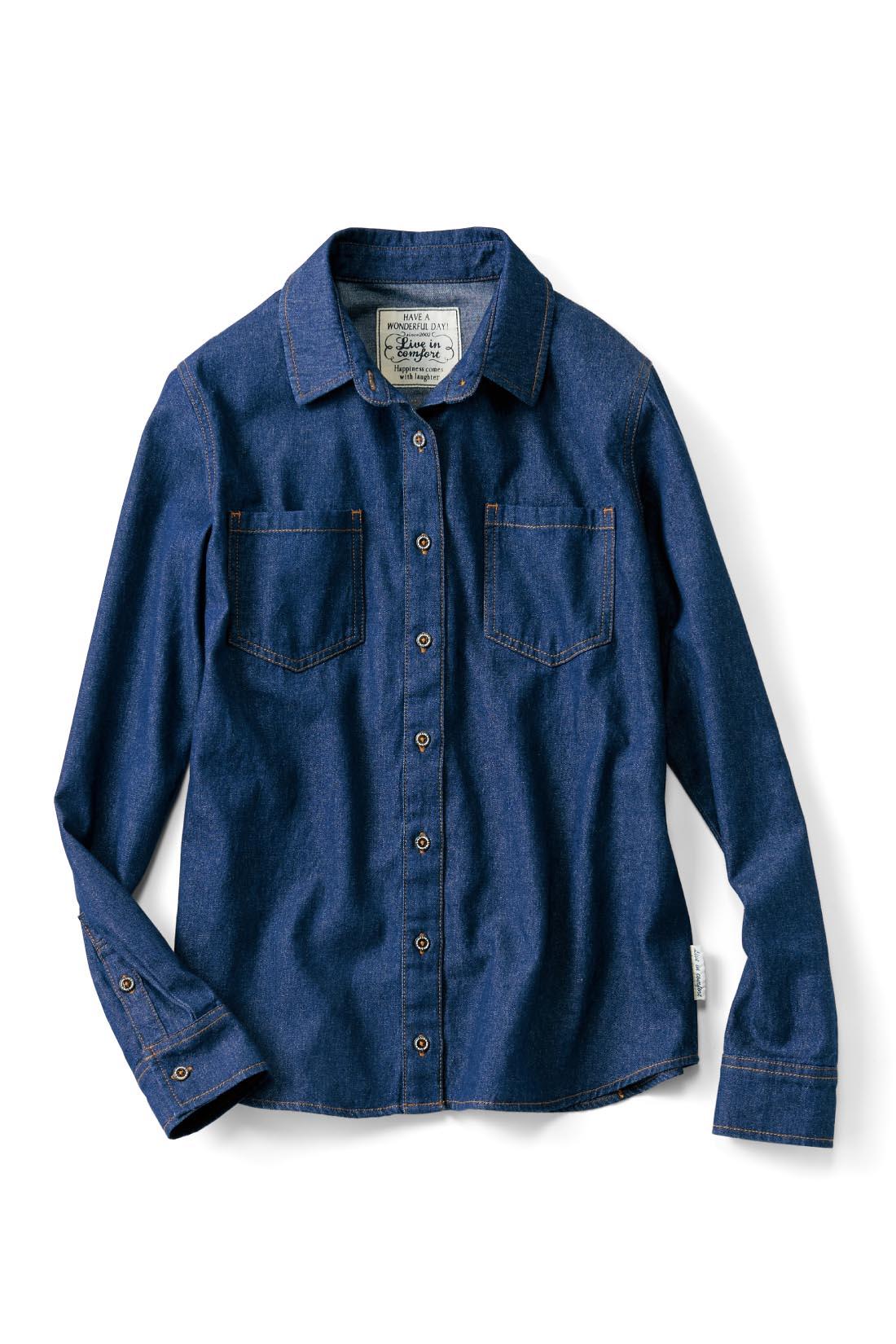 FRONT 前はシンプルなデニムシャツ。