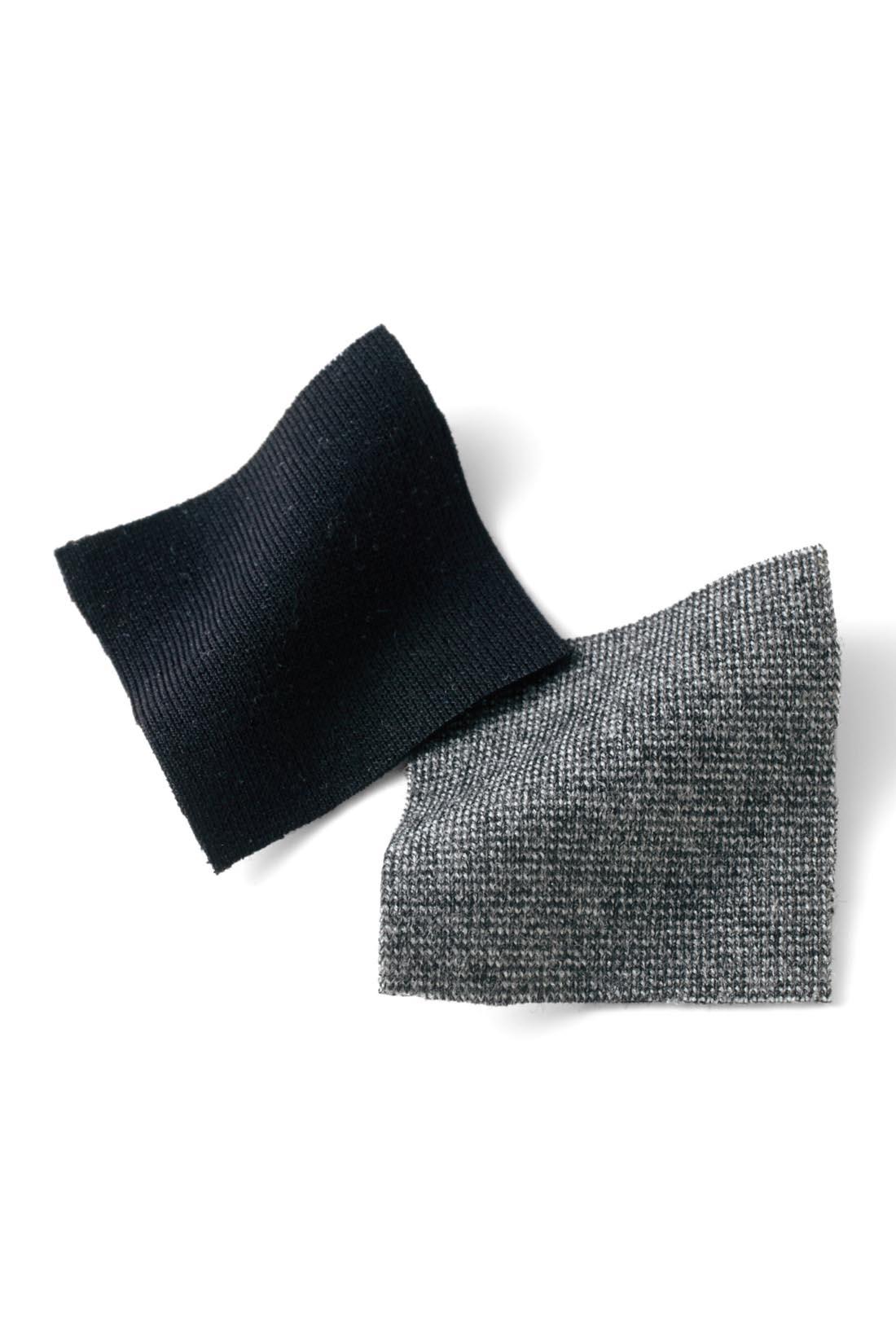 ほどよい厚みと落ち感のあるカットソー素材はきれいめながら、はき心地快適。