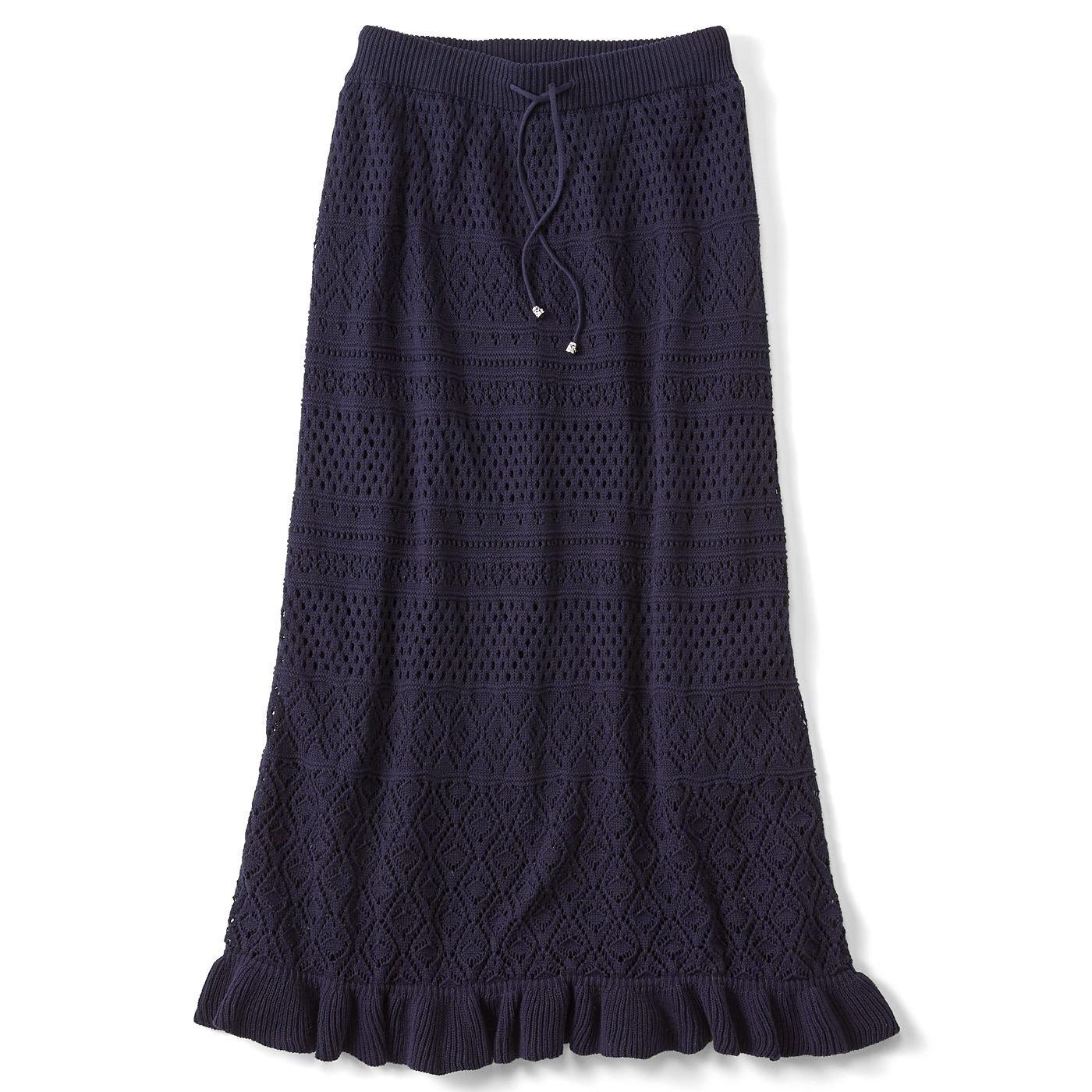 リブ イン コンフォート ほどゆるラインとのびのび裏地で はき心地も抜群 大人レディーな綿ニットスカート〈ネイビー〉