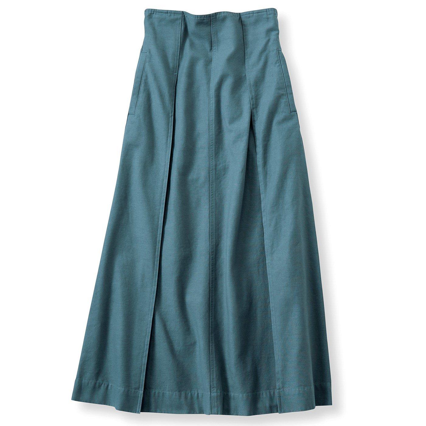リブ イン コンフォート パンツ感覚ではけてスッキリ見える 大人ワークスカート〈ピーコックグリーン〉
