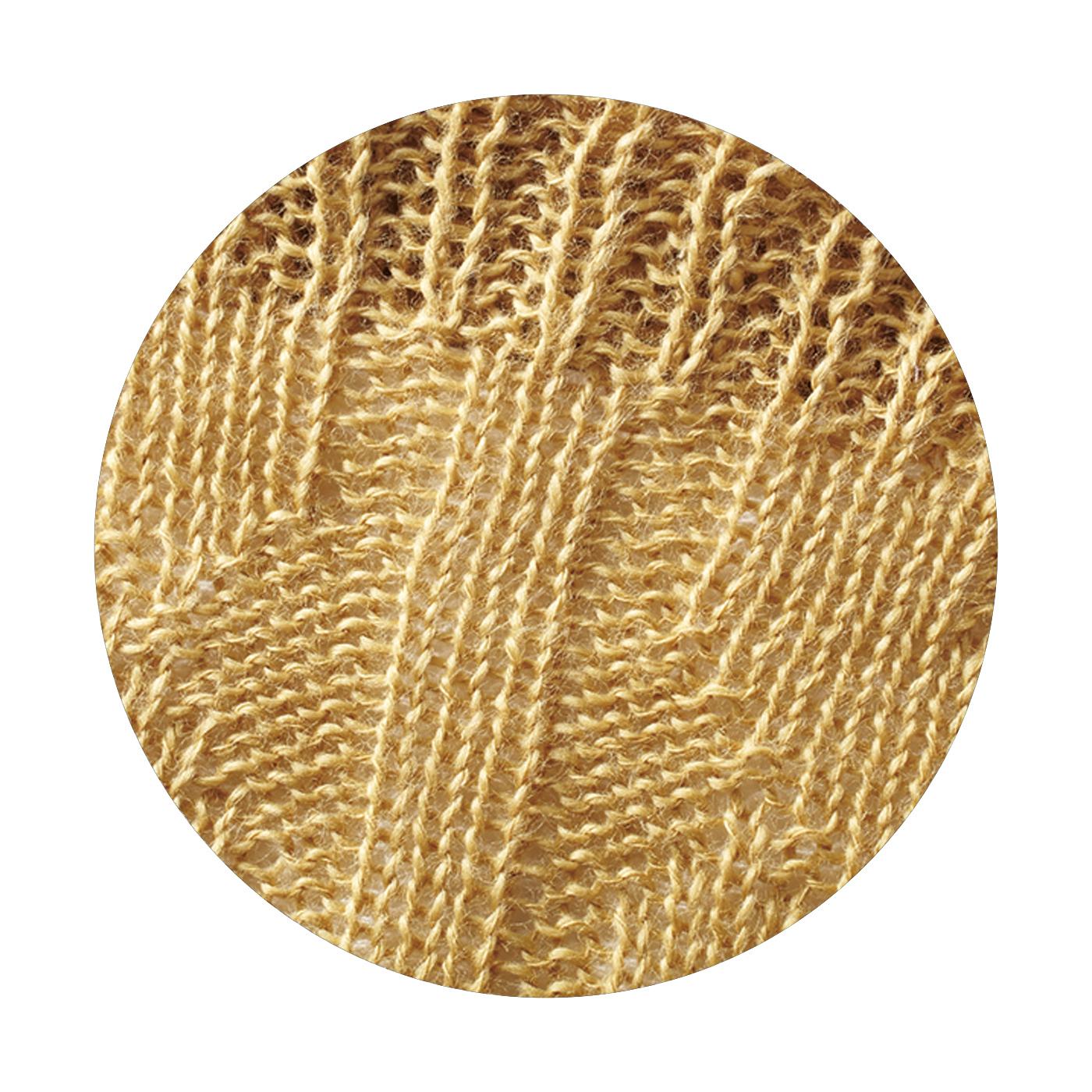 (3~9月:表側 麻100%)空気を通しやすいざっくりした編み地で、快適な着け心地。