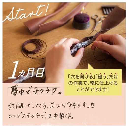 1ヵ月目 夢中でチクチク。穴開けしたら、芯入り「持ち手」をロングステッチで、2本製作。 ※イメージ写真にはプログラムセット内容以外の別売の縫い糸や専用工具も写っています。