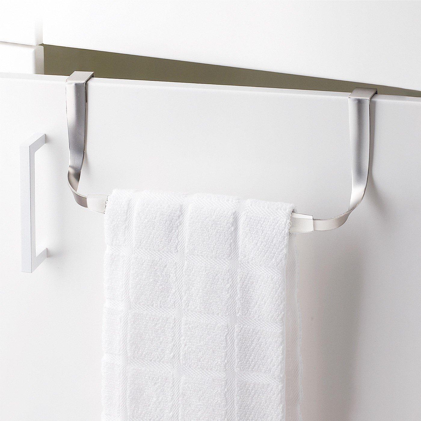 キッチン扉に掛けるだけ タオルがずれ落ちにくいタオルハンガー
