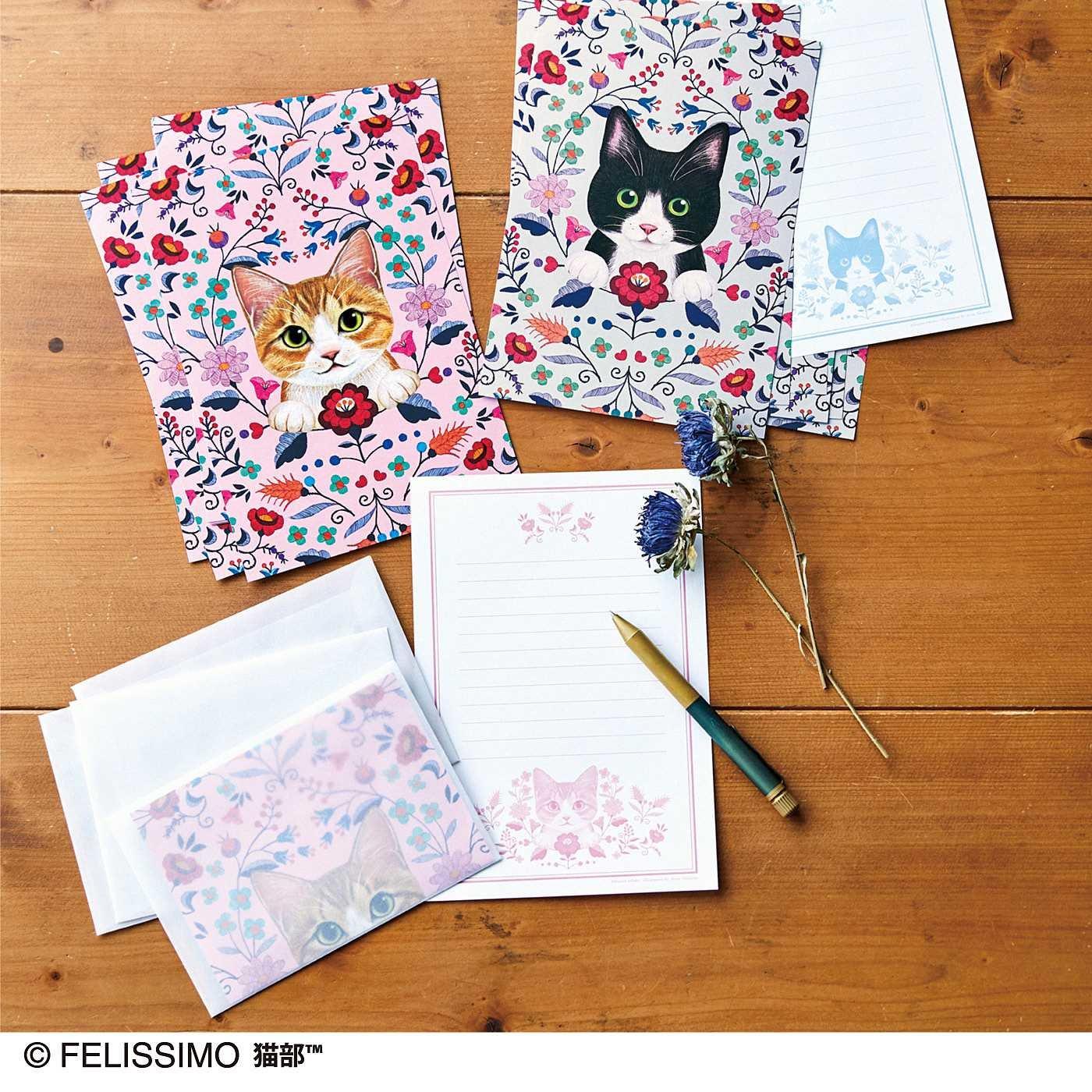 猫とお花のレターセットの会