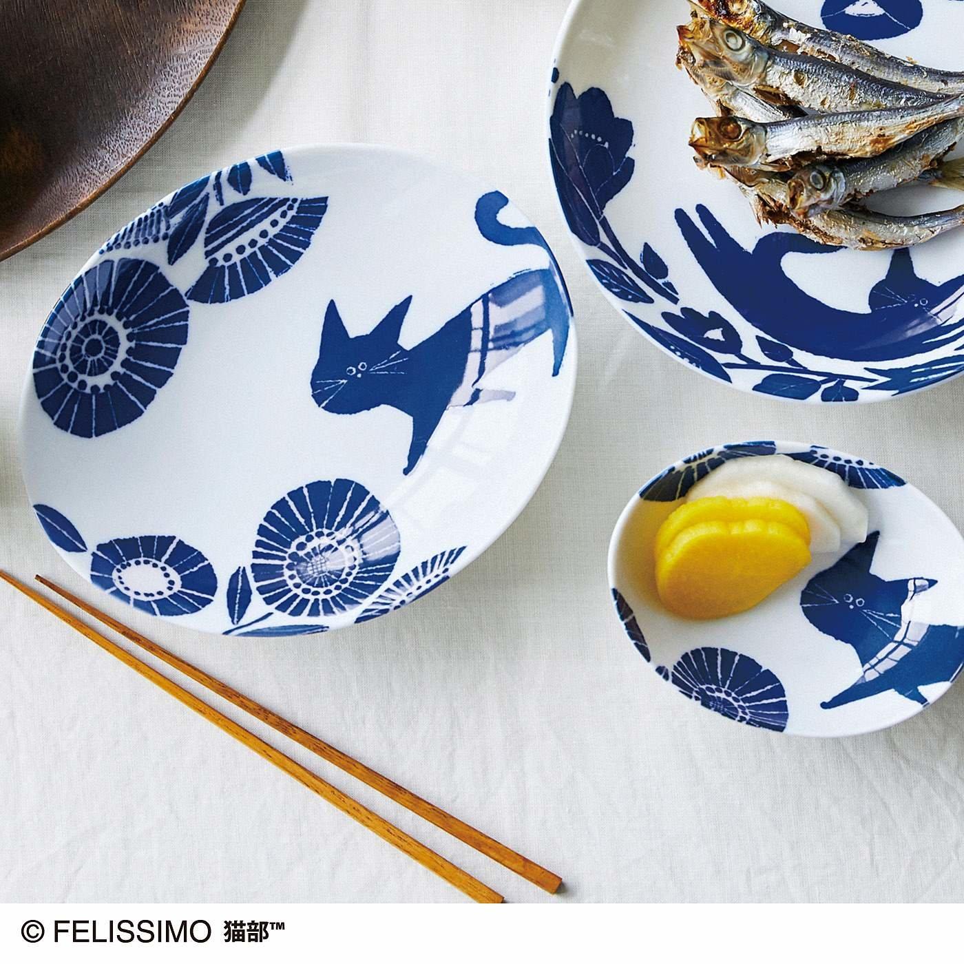 猫部×coco.a 和柄猫お皿セット さんぽ道〈深皿〉の会
