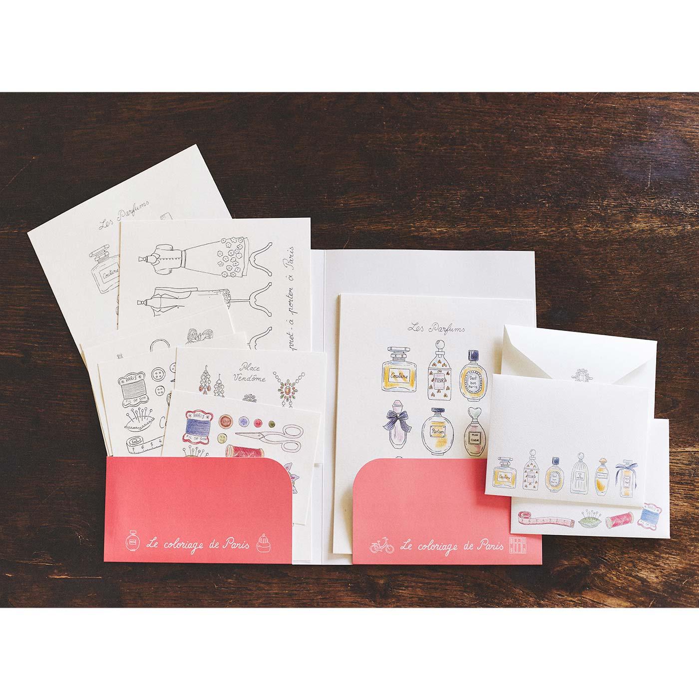 アンヌさんのお手本をセットして、毎回色の異なる紙ホルダーに入れてお届けします。