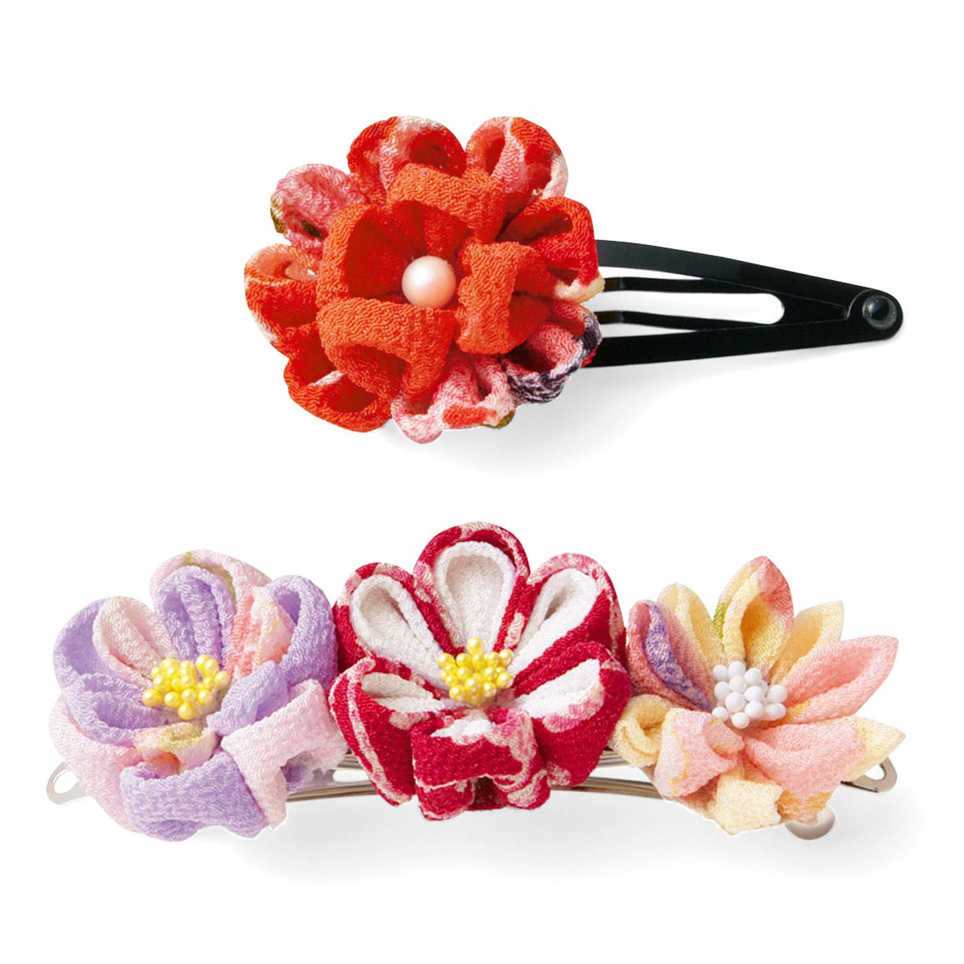 〈小〉のお花はお手持ちのピンやバレッタに付けてアレンジも可能。