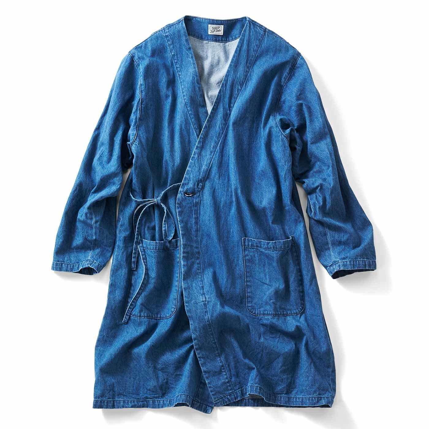 古着屋さんで見つけたような デニムの作務衣(さむえ)コート〈ライトインディゴブルー〉
