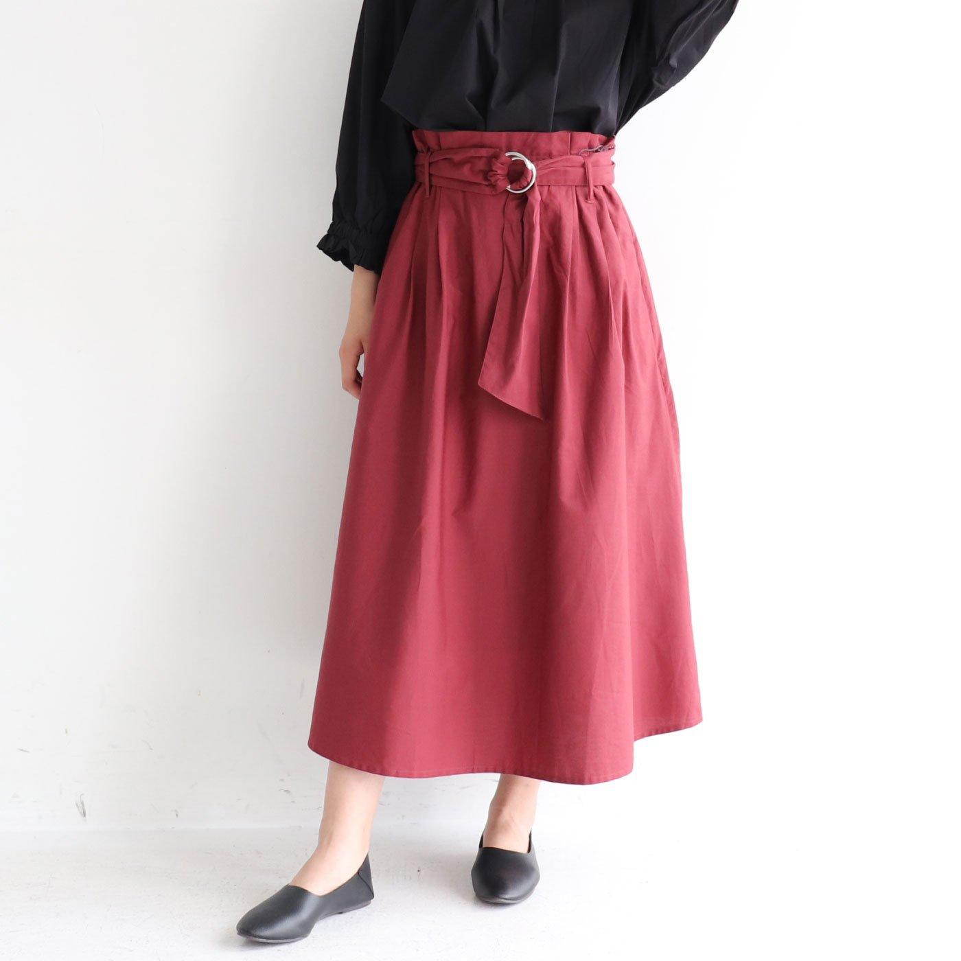 シンプルで合わせやすい サッシュベルト付きスカート