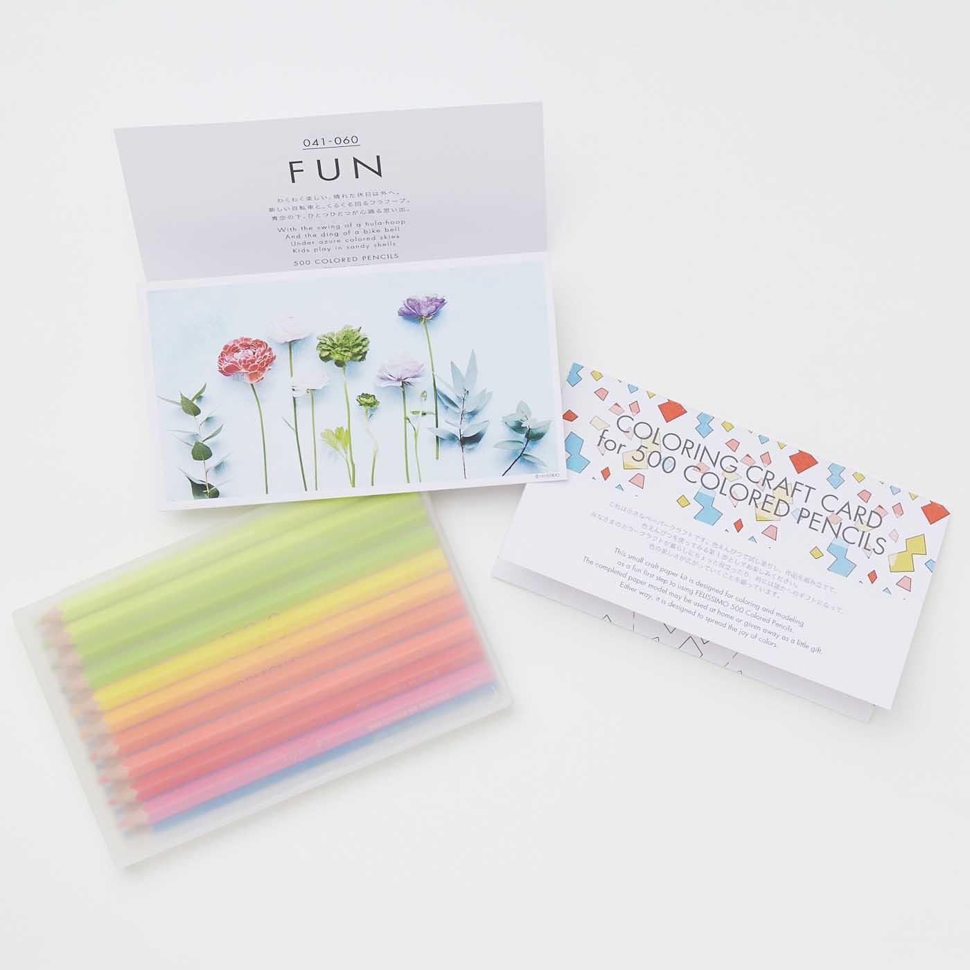 持ち運びにも便利な、半透明の美しいペンケース入り。英語のなまえを楽しく翻訳した情報カードと、色えんぴつを使う第一歩になるぬり絵のクラフトカードもお届け。