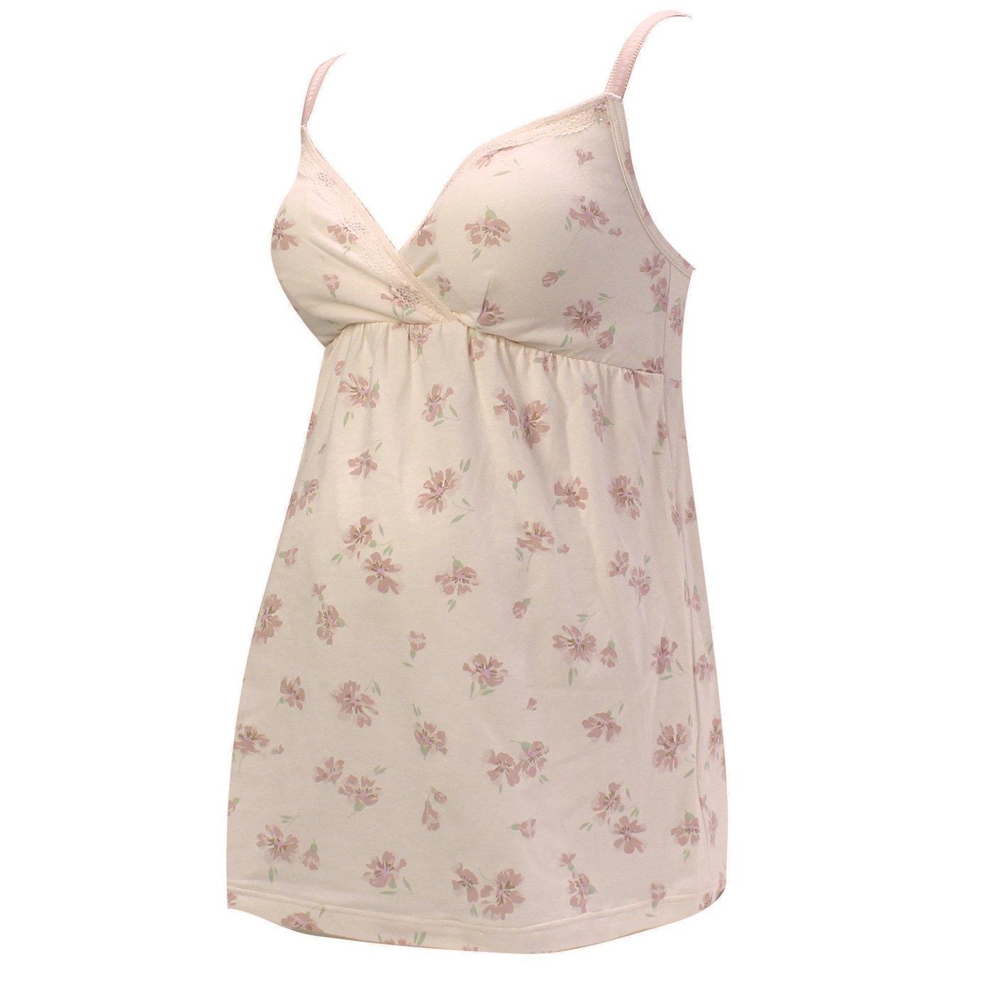 マタニティ・産後使える エレガントフラワーをちりばめた授乳ブラキャミインナー〈ピンク〉