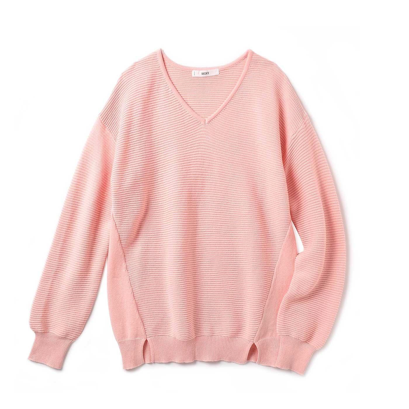 IEDIT 大人のピンクを楽しむ着やせもかなう 洗練コットンニットトップス〈シェルピンク〉