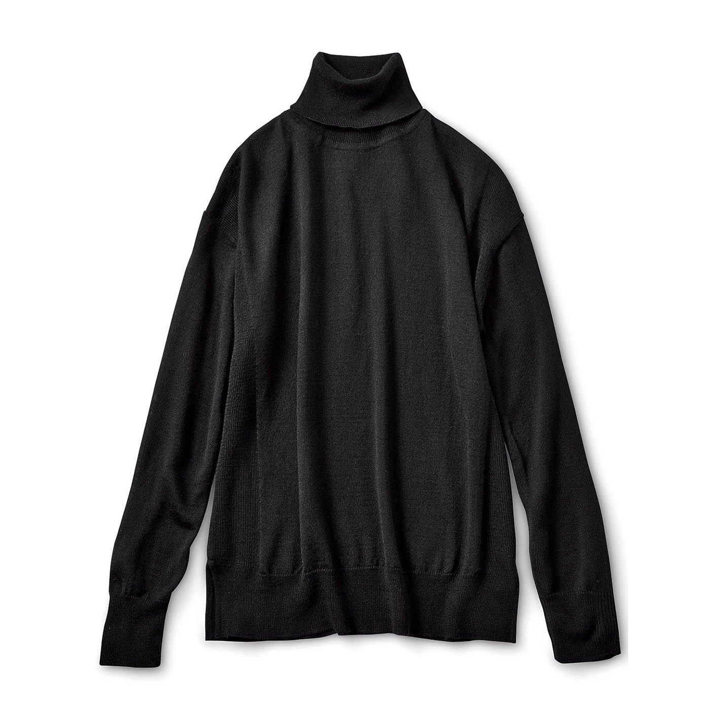 HIROMI YOSHIDA.  ゆるシルエットのデザインニットタートル〈ブラック〉