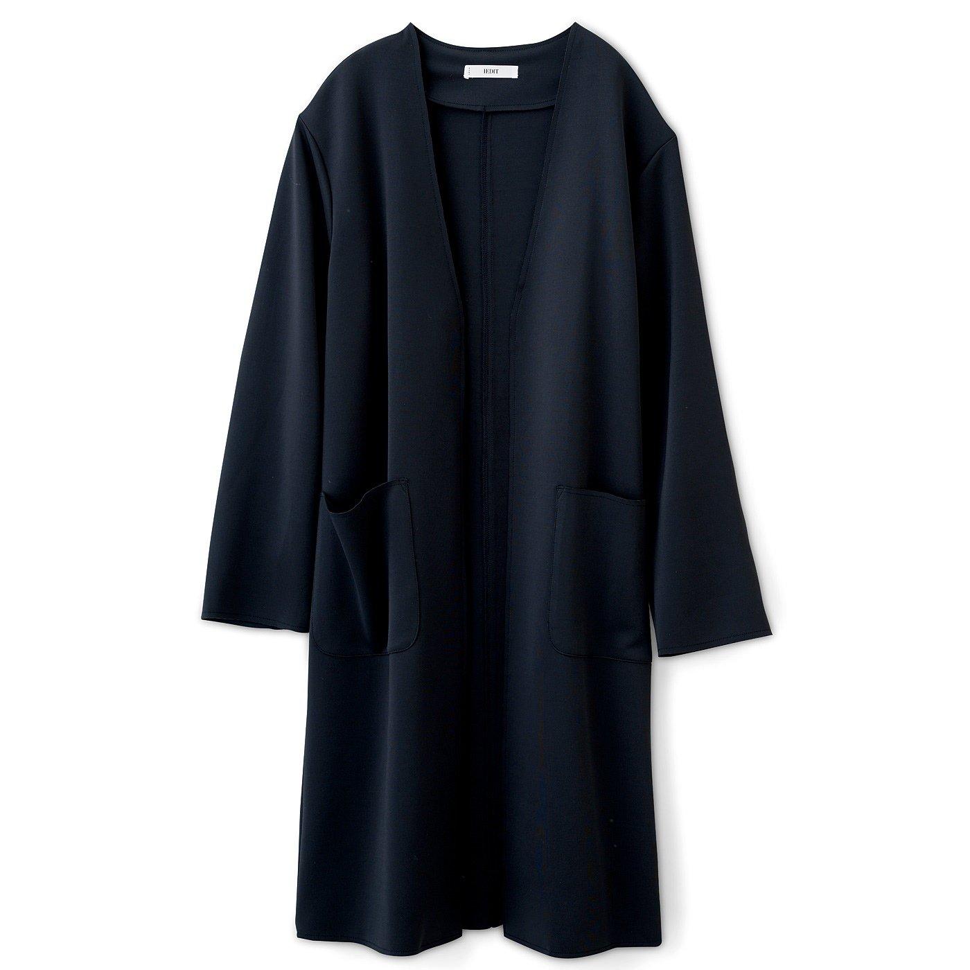 DRECO 艶感が上品なカットソーの軽やかノーカラーコート〈ブラック〉