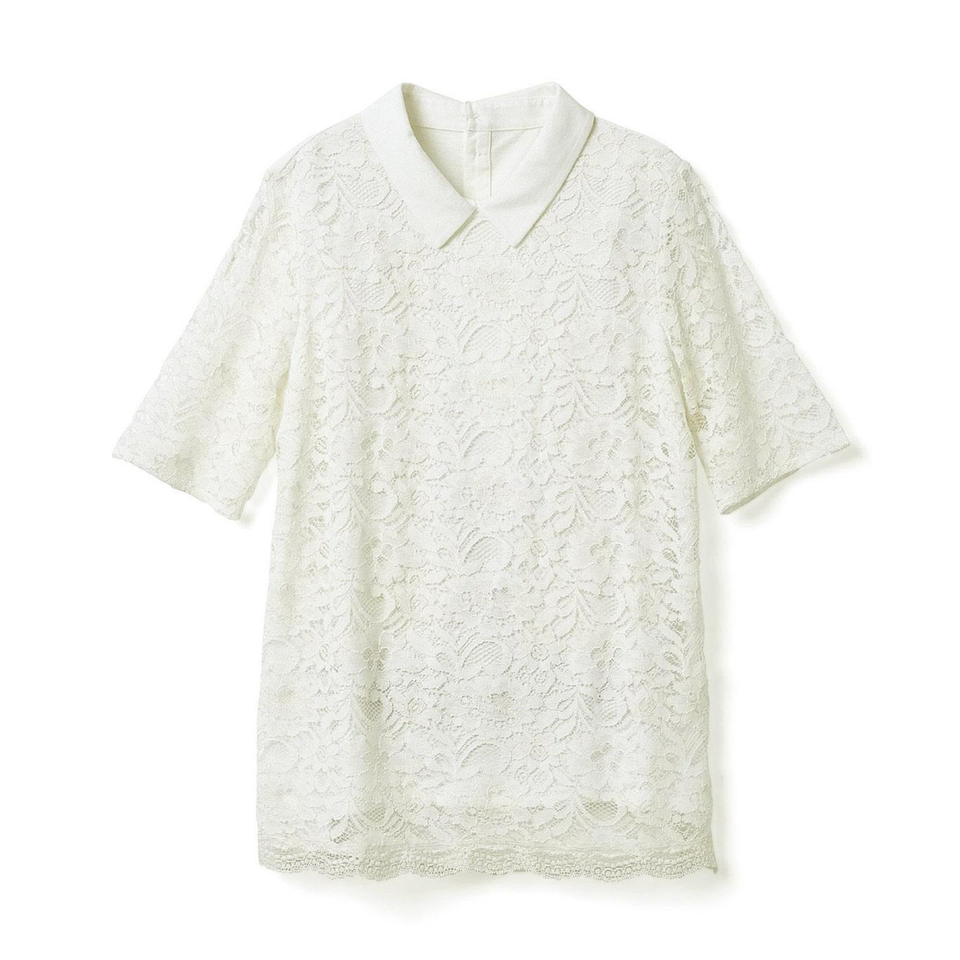 DRECO by IEDIT 着るだけで上品華やか!吸汗速乾カットソードッキング衿付きレーストップス<ホワイト>