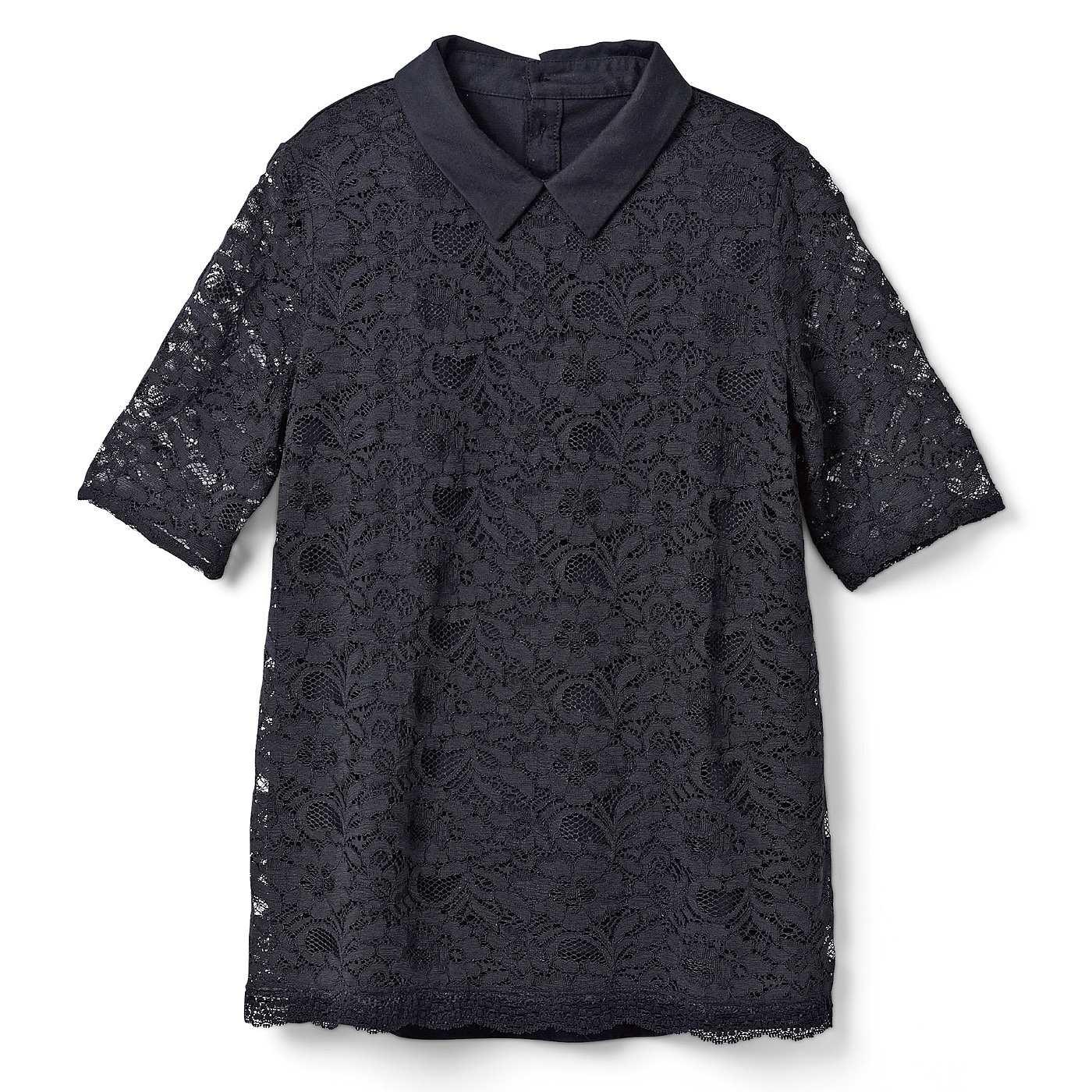 DRECO by IEDIT 着るだけで上品華やか!吸汗速乾カットソードッキング衿付きレーストップス<ブラック>