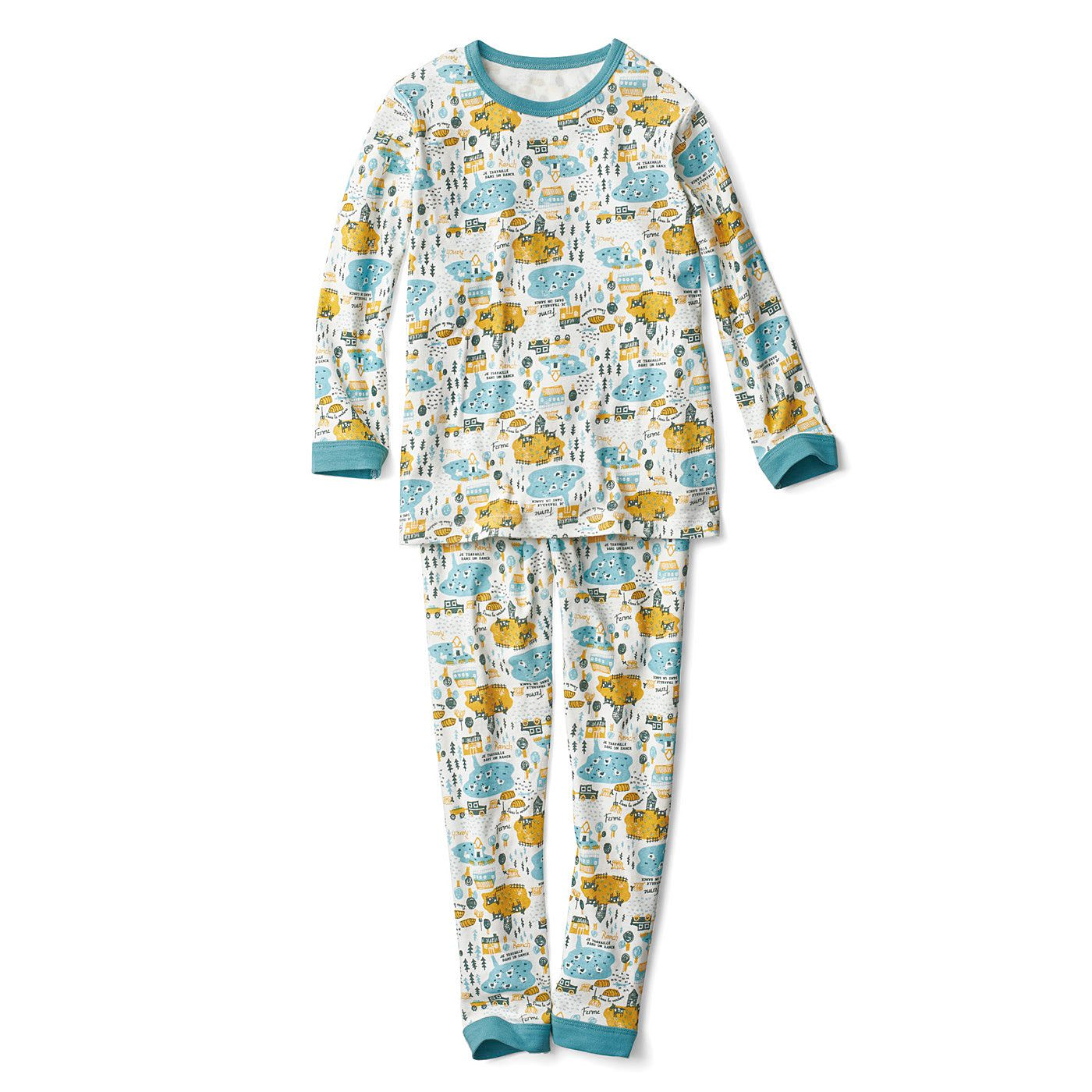 おなか出ないよ! はらまきドッキングイラストパジャマ〈グリーン×マスタード〉