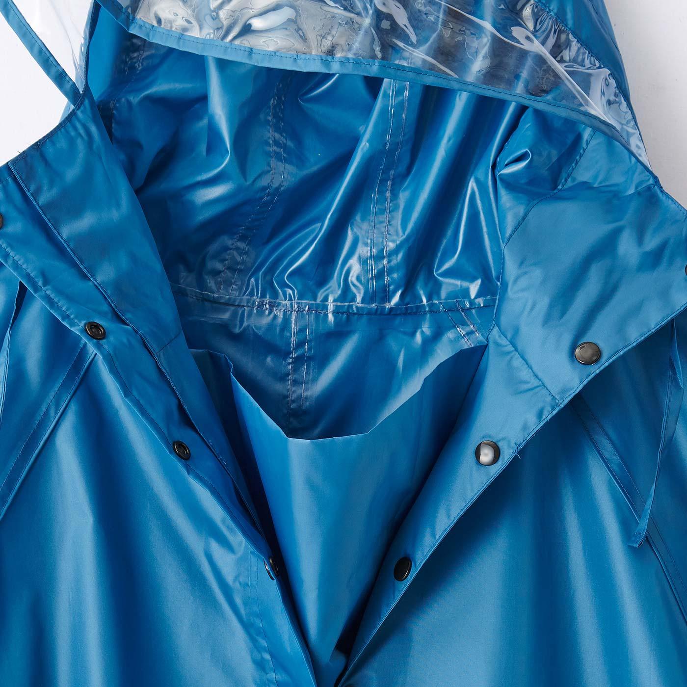 二重の前立てが風による雨の浸入を防止。