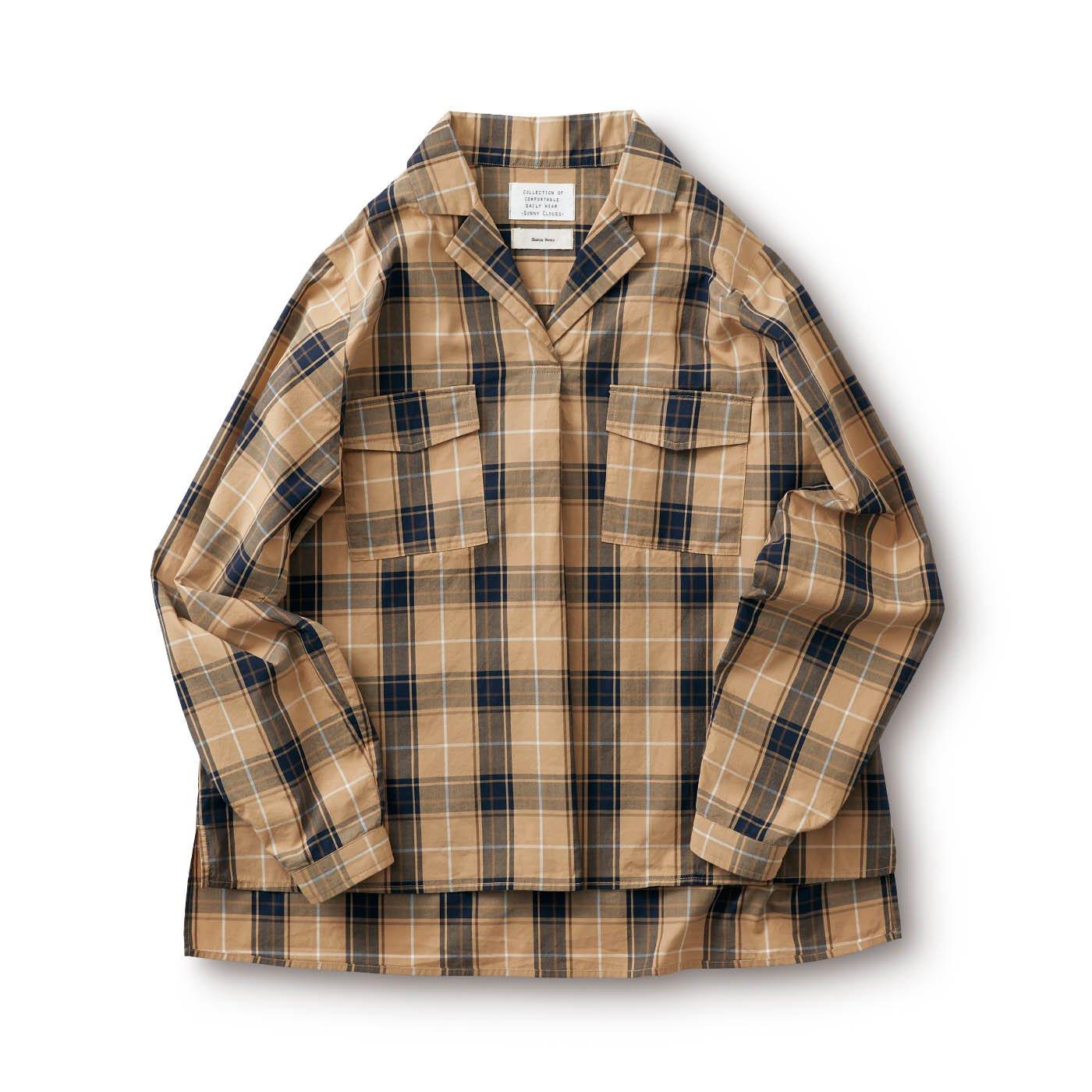 サニークラウズ feat. Shuttle Notes テーラー衿のチェックシャツ〈レディース〉