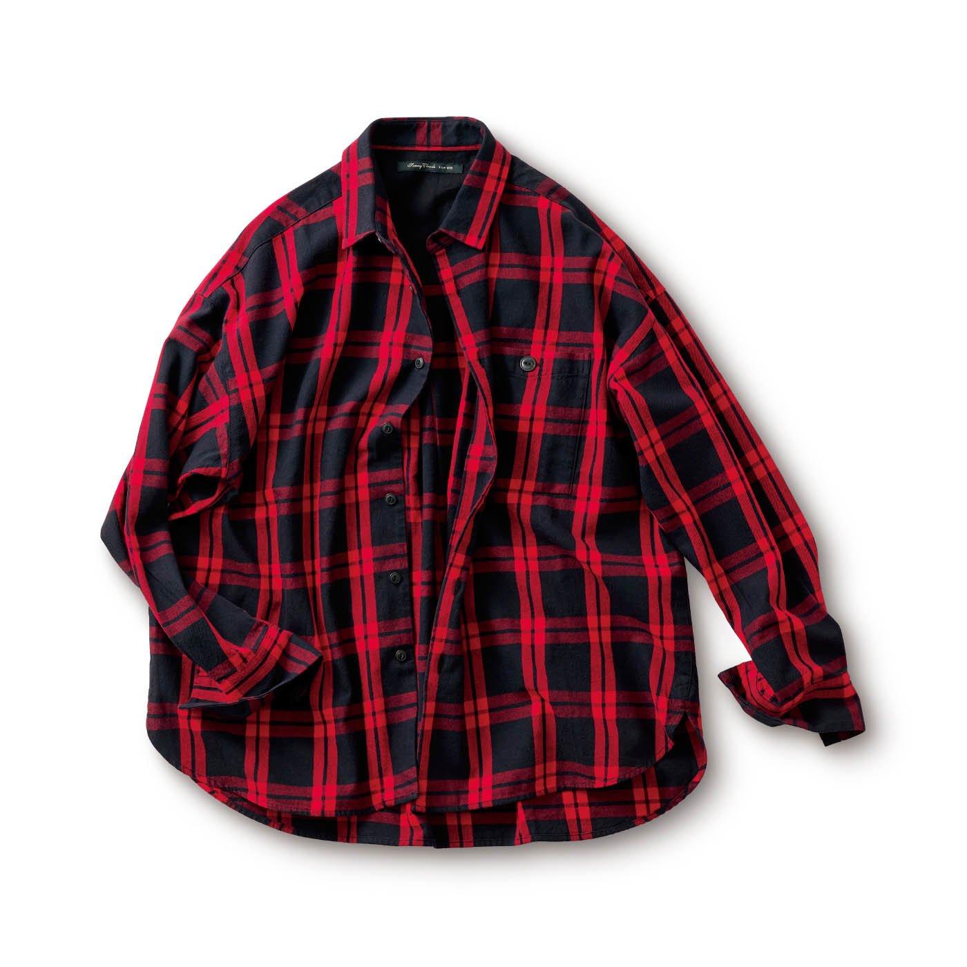 サニークラウズ タータンの気さくなチェックシャツ〈メンズ〉赤