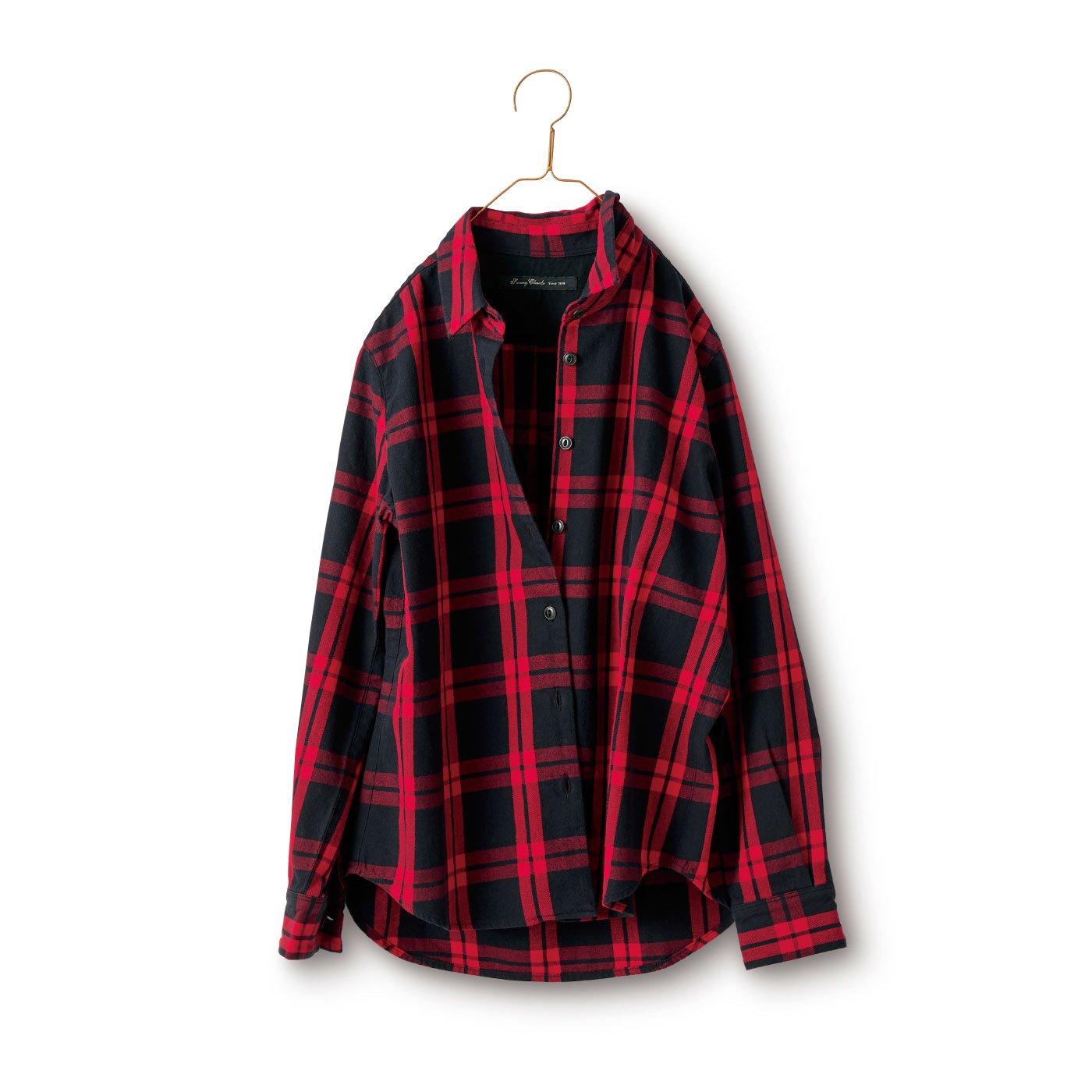 サニークラウズ タータンの気さくなチェックシャツ〈レディース〉赤