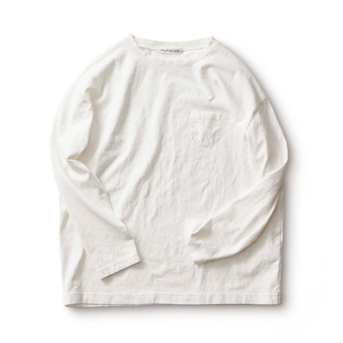 サニークラウズ すそから長袖Tシャツ〈メンズ〉白