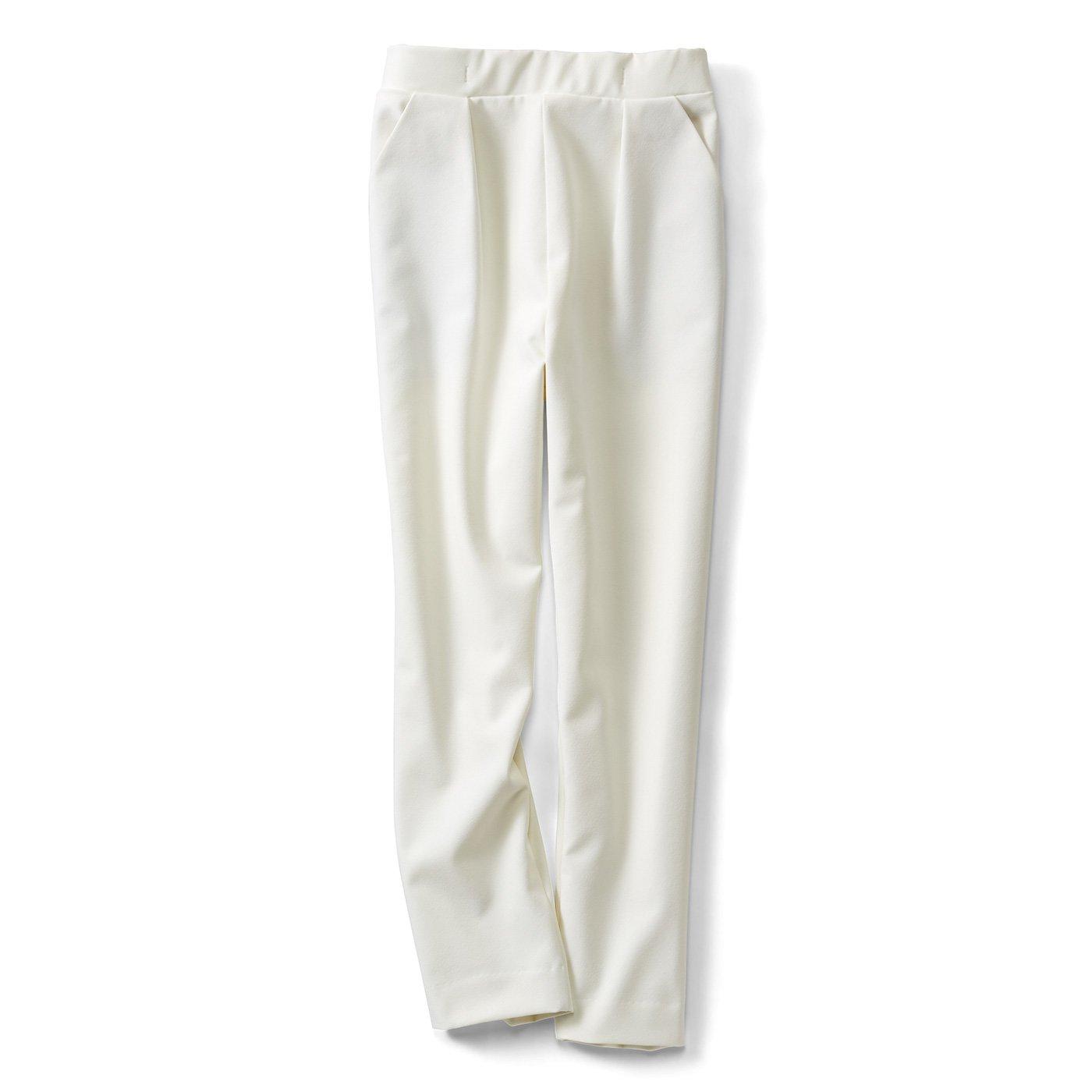 IEDIT[イディット] 露出控えめな汚れにくい白! 撥(はっ)水素材の国産ホワイトパンツ