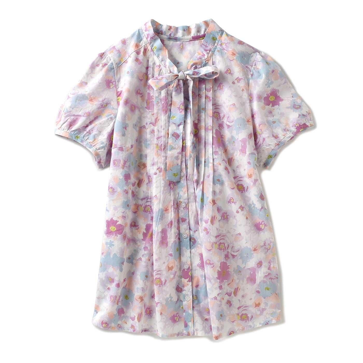 リブ イン コンフォート 水彩タッチのやわらか 花柄コットンブラウス(ピンク×パステルブルー)