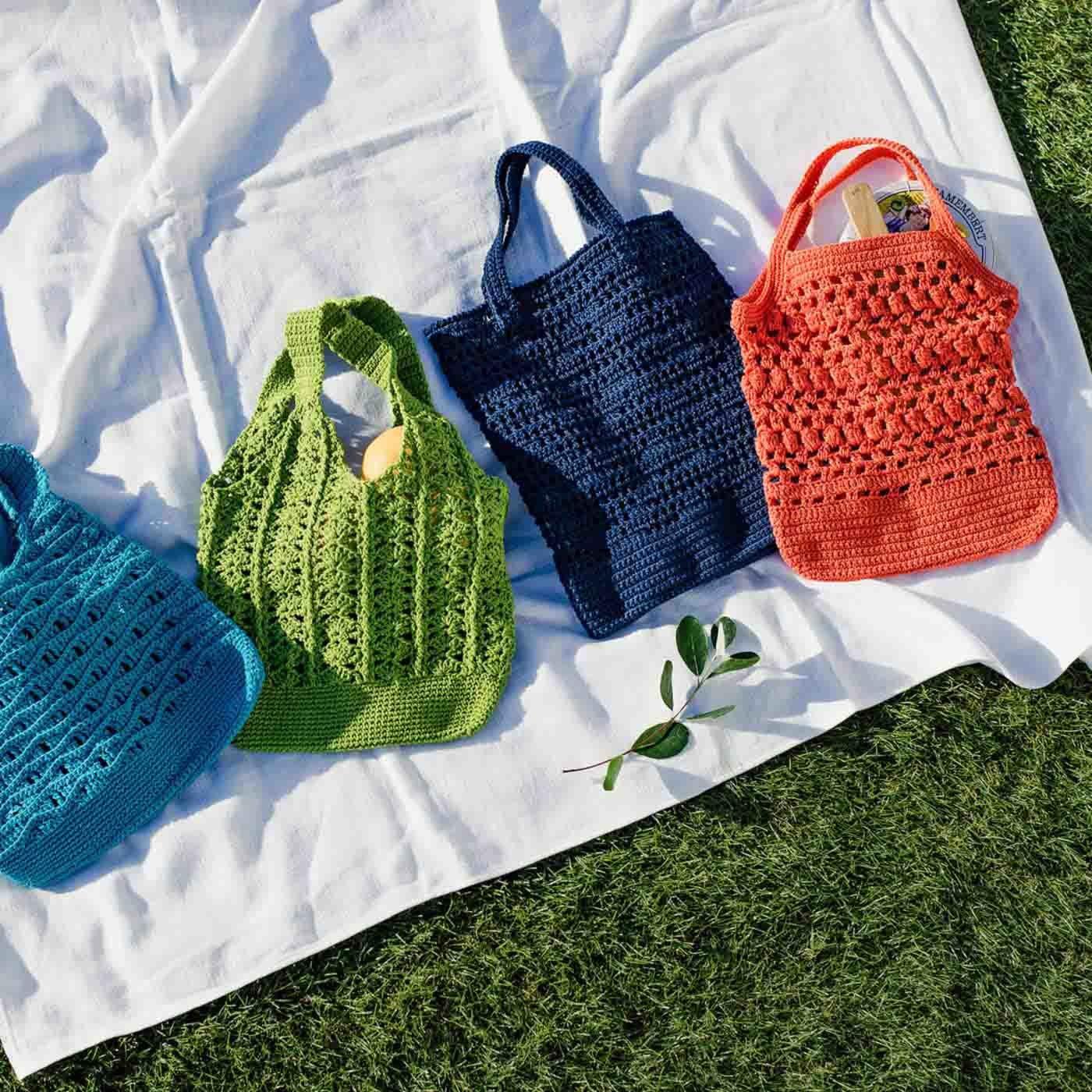 【クチュリエクラブ会員限定】涼しげな編み地が自慢 透け感がおしゃれなかぎ針編みバッグの会