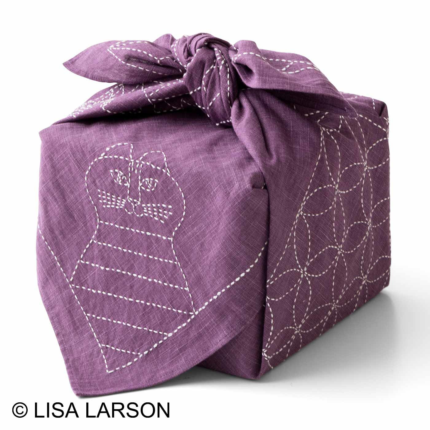 クチュリエ×リサ・ラーソン 縫製済みがうれしい ちくちく刺し子の大判風呂敷(藤)