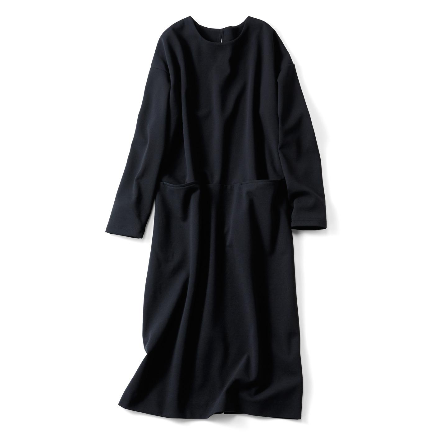 IEDIT[イディット] 裏起毛ジョーゼットカットソーで上品なのに暖かい Iラインブラックワンピース〈ブラック〉