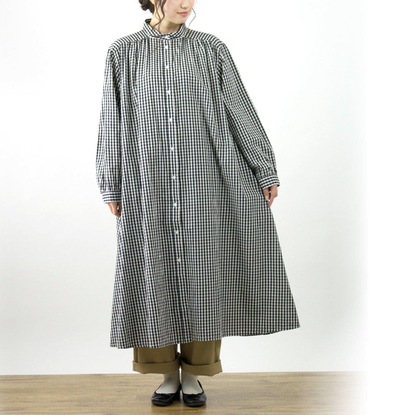 ちょこんと衿のロングシャツワンピ