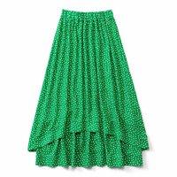 <フェリシモ>ボリュームとすそラインがロマンティックな水玉スカート〈グリーン〉【送料無料】