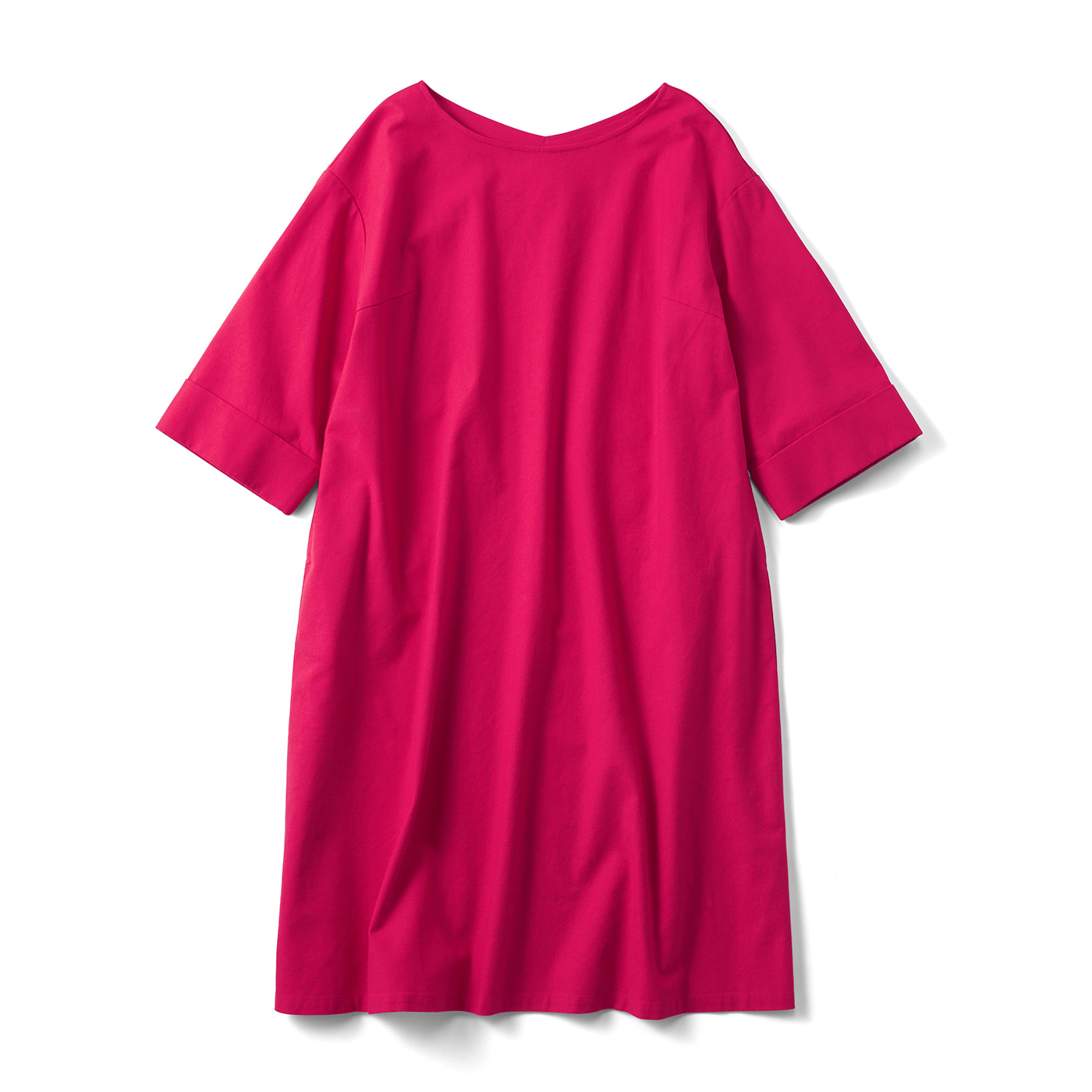 すぽっとかわいい 七分袖の麻混ワンピース〈唐紅〉