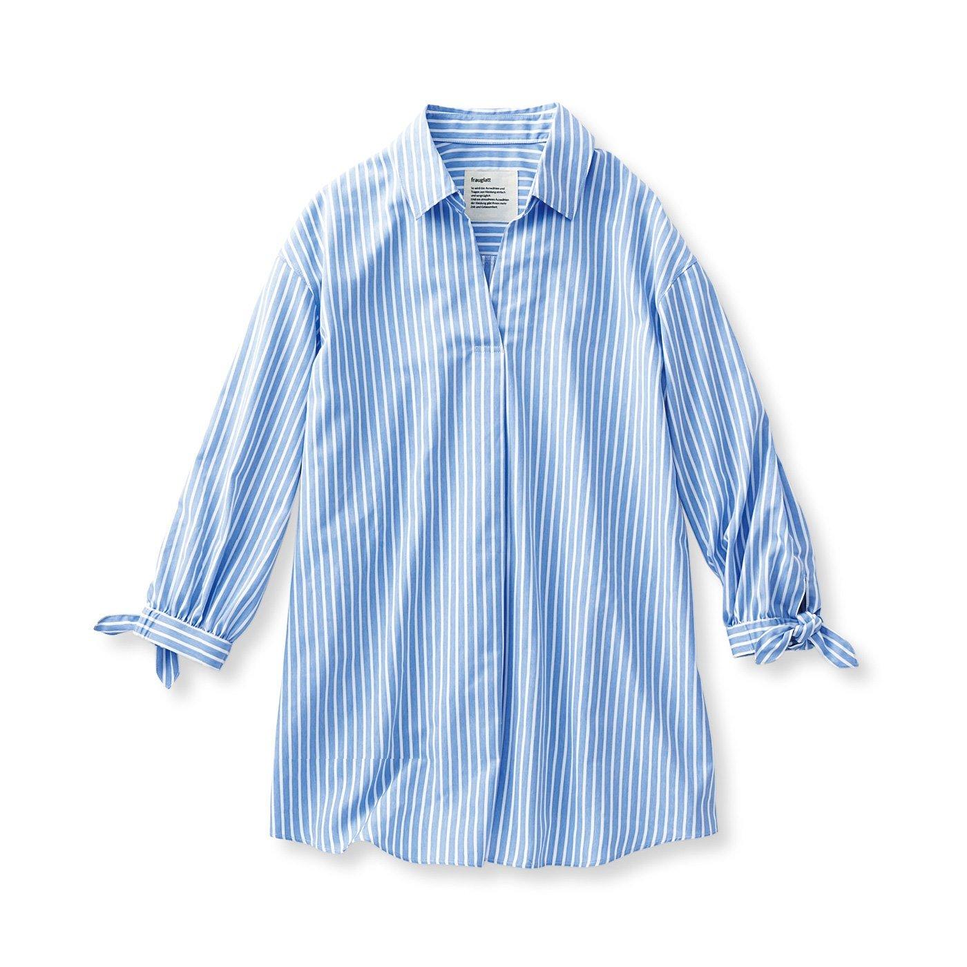 フラウグラット イージーケアの すとんと着るだけで決まる 軽やかプルオーバーストライプシャツチュニック〈サックス〉
