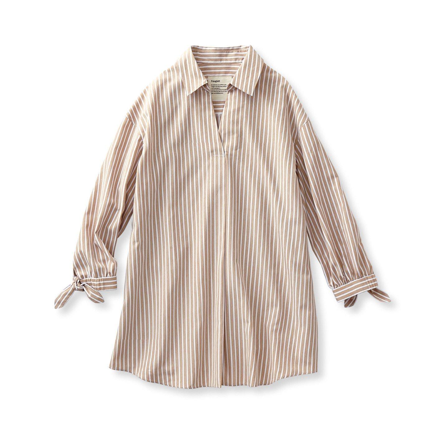 フラウグラット イージーケアの すとんと着るだけで決まる 軽やかプルオーバーストライプシャツチュニック〈ベージュ〉