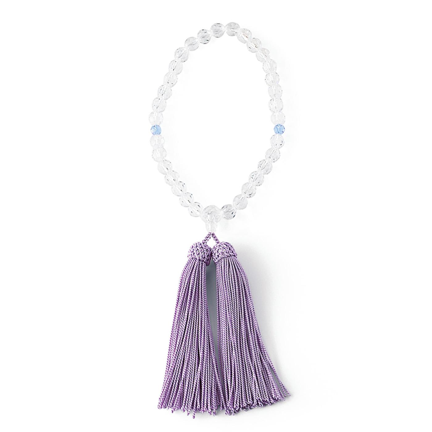 美しいチェコガラスを使用した白切甲(しろきりこう)の念珠。クリアカラーは女性らしく華やか。