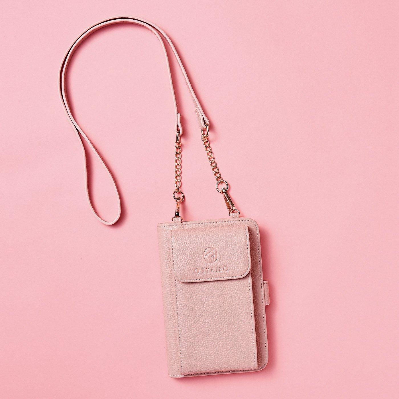 OSYAIRO フォトポケットが付いた スマホ&おさいふポーチ〈ピンク〉