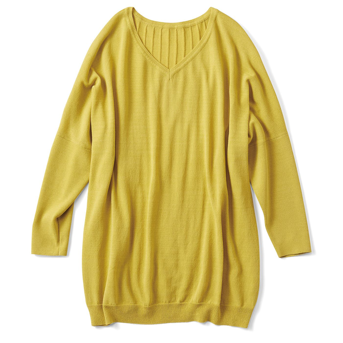 フェリシモ リブ イン コンフォート Tシャツ感覚で着られてきれい見えする さらシャリニットトップス〈ミモザイエロー〉