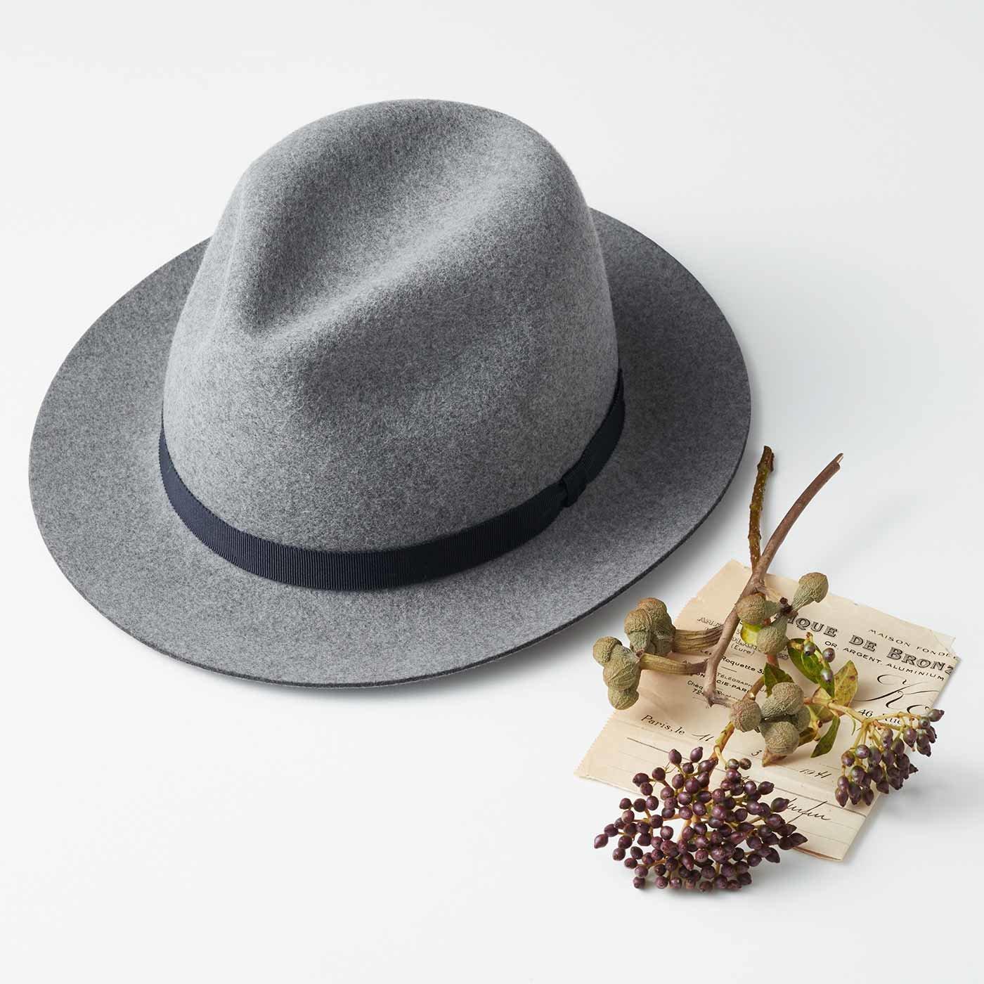 海を渡って届いた 夢の職人仕立て ポルトガルフェルト帽子〈シルバーグレー〉[帽子:日本製]