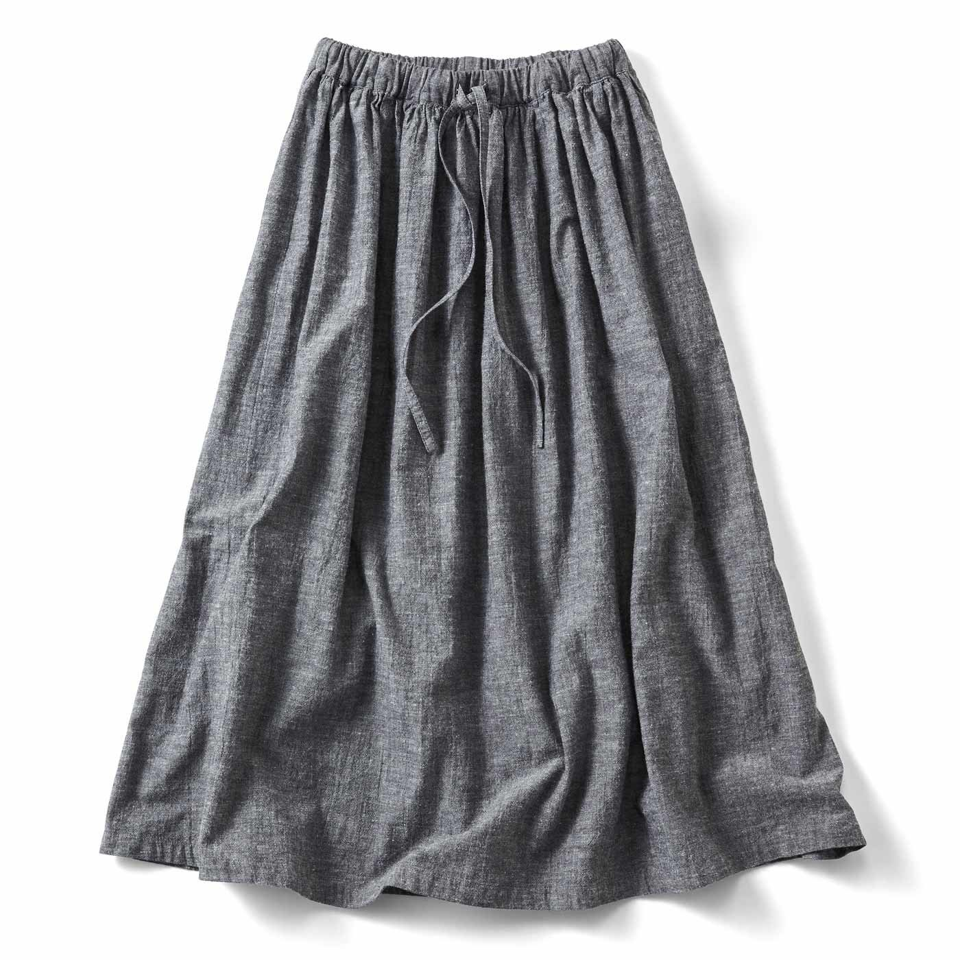 THREE FIFTY STANDARD ラフな麻混のギャザースカート〈ブラック〉