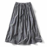 <フェリシモ>THREE FIFTY STANDARD ラフな麻混のギャザースカート〈ブラック〉【送料無料】