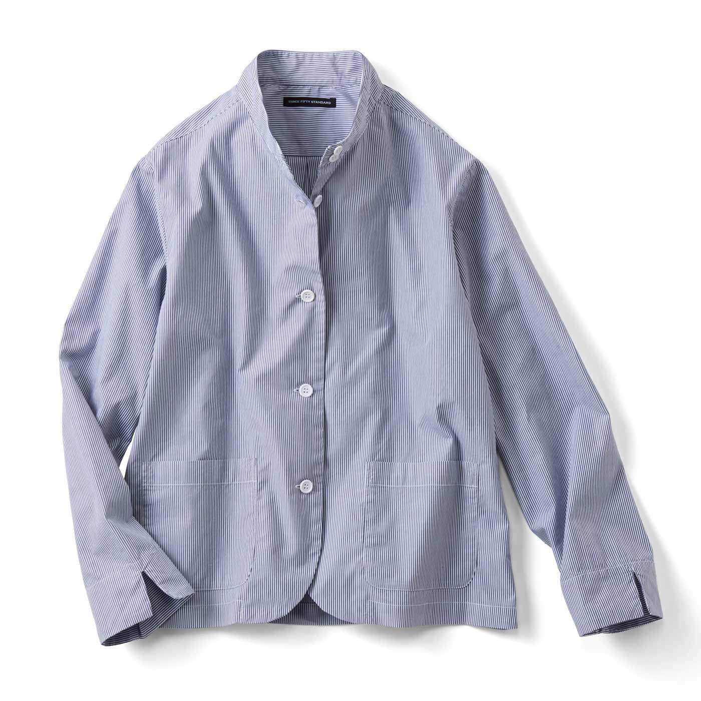 THREE FIFTY STANDARD シャツ生地でつくったラフな ブルーストライプジャケット