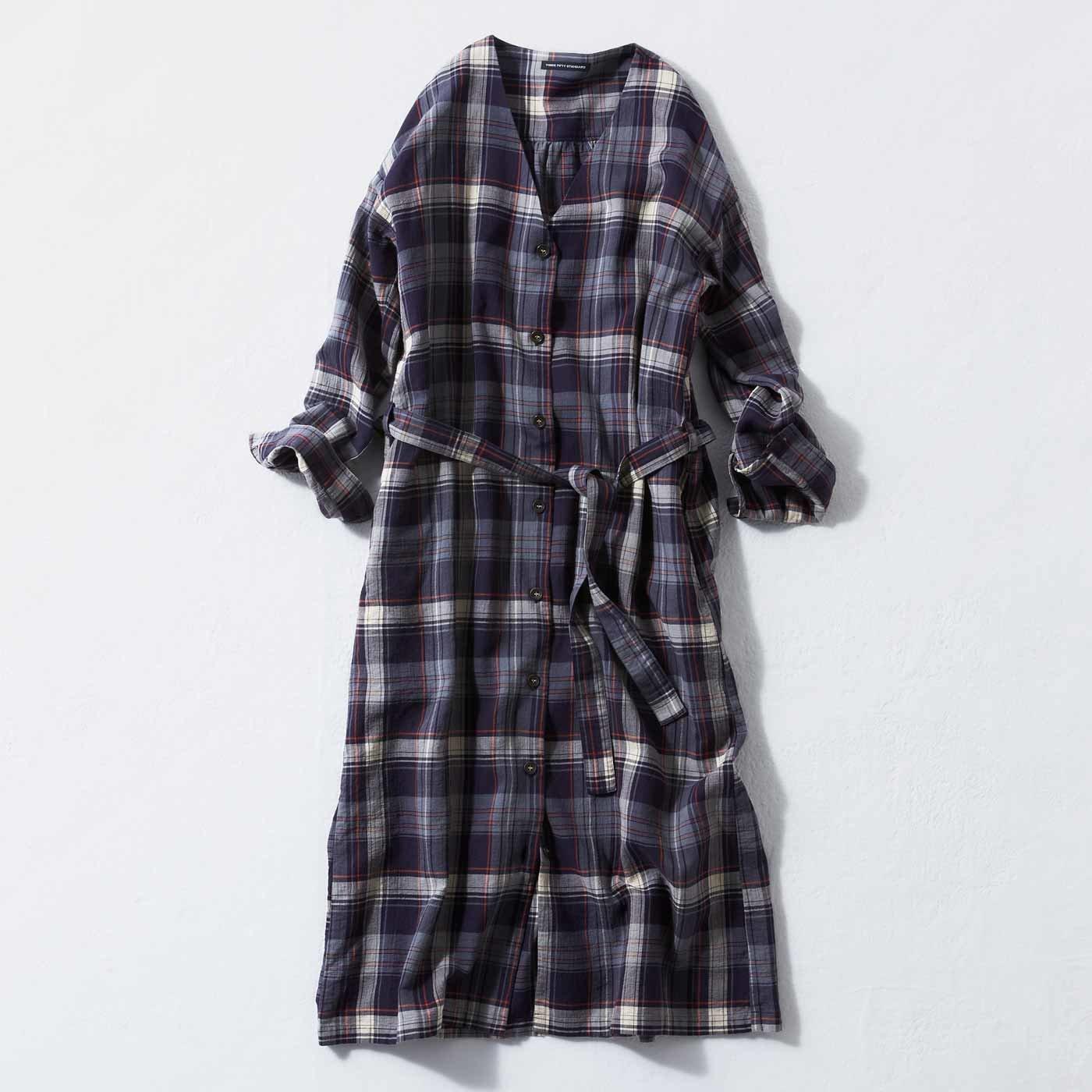 THREE FIFTY STANDARD 二重織チェックで仕立てたコートみたいなロングシャツ