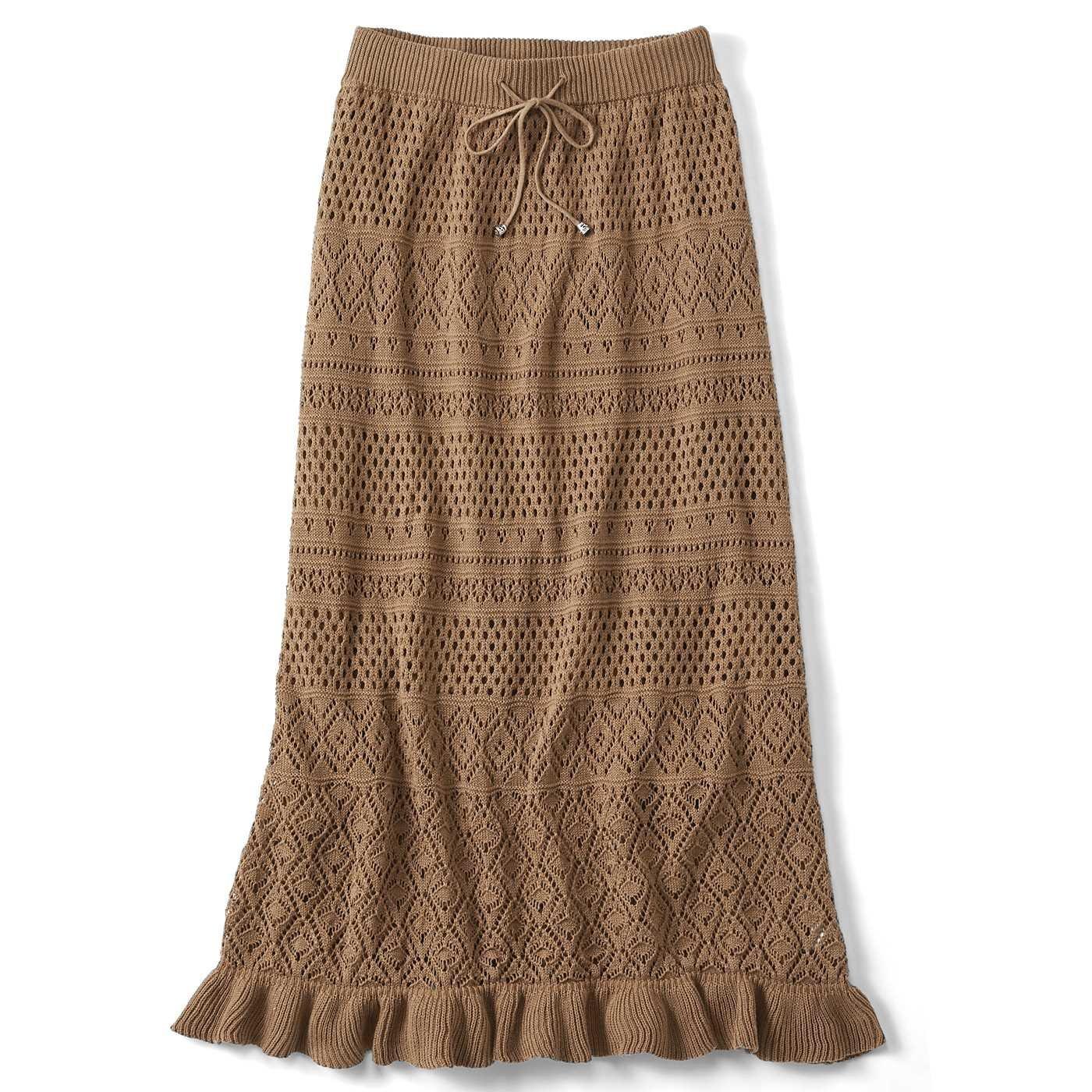 リブ イン コンフォート ほどゆるラインとのびのび裏地で はき心地も抜群 大人レディーな綿ニットスカート〈キャメル〉