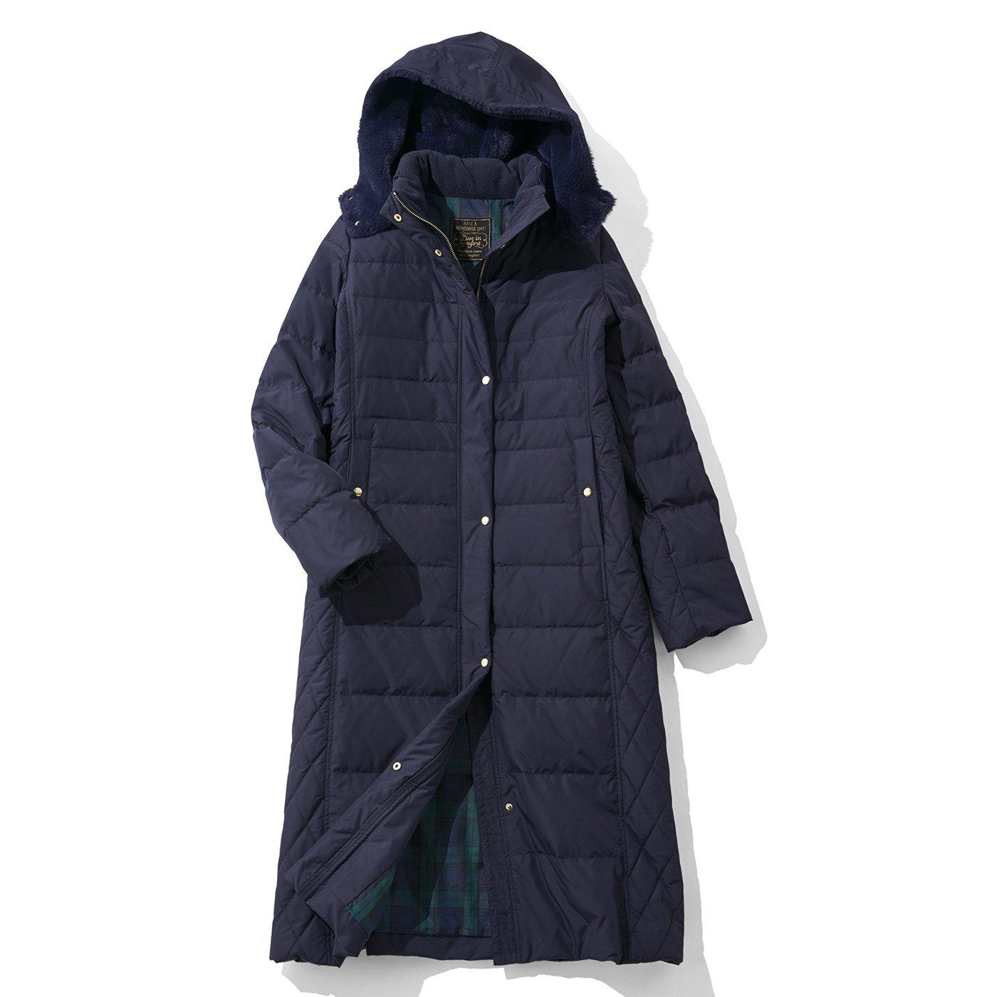 リブ イン コンフォート 寝袋級の暖かさ! サイドキルティングの超ロングダウンコート〈ネイビー〉